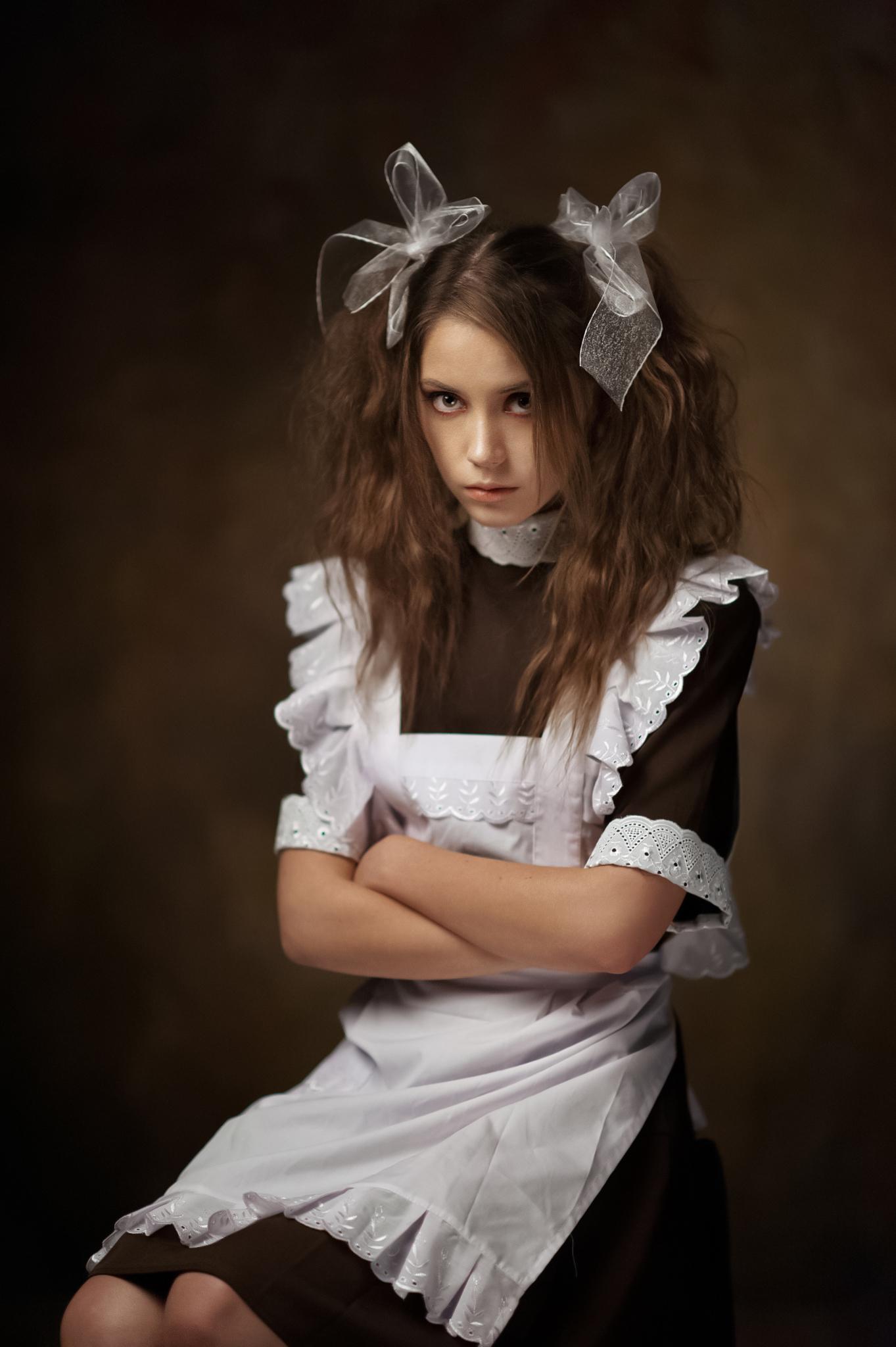 Maxim Maximov Women Ksenia Kokoreva Brunette Looking At Viewer Long Hair Simple Background Apron Han 1363x2048