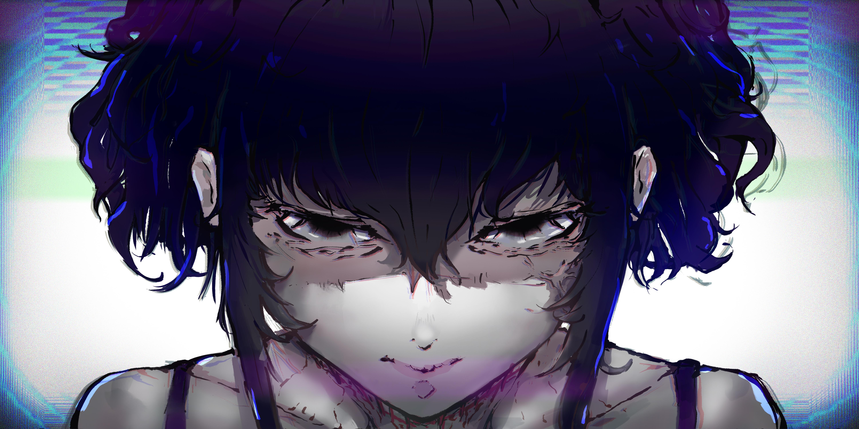 Black Lagoon Messy Hair Short Hair Violet Hair Anime Girls 2D Anime Sawyer The Cleaner Scars Fan Art 6000x3000