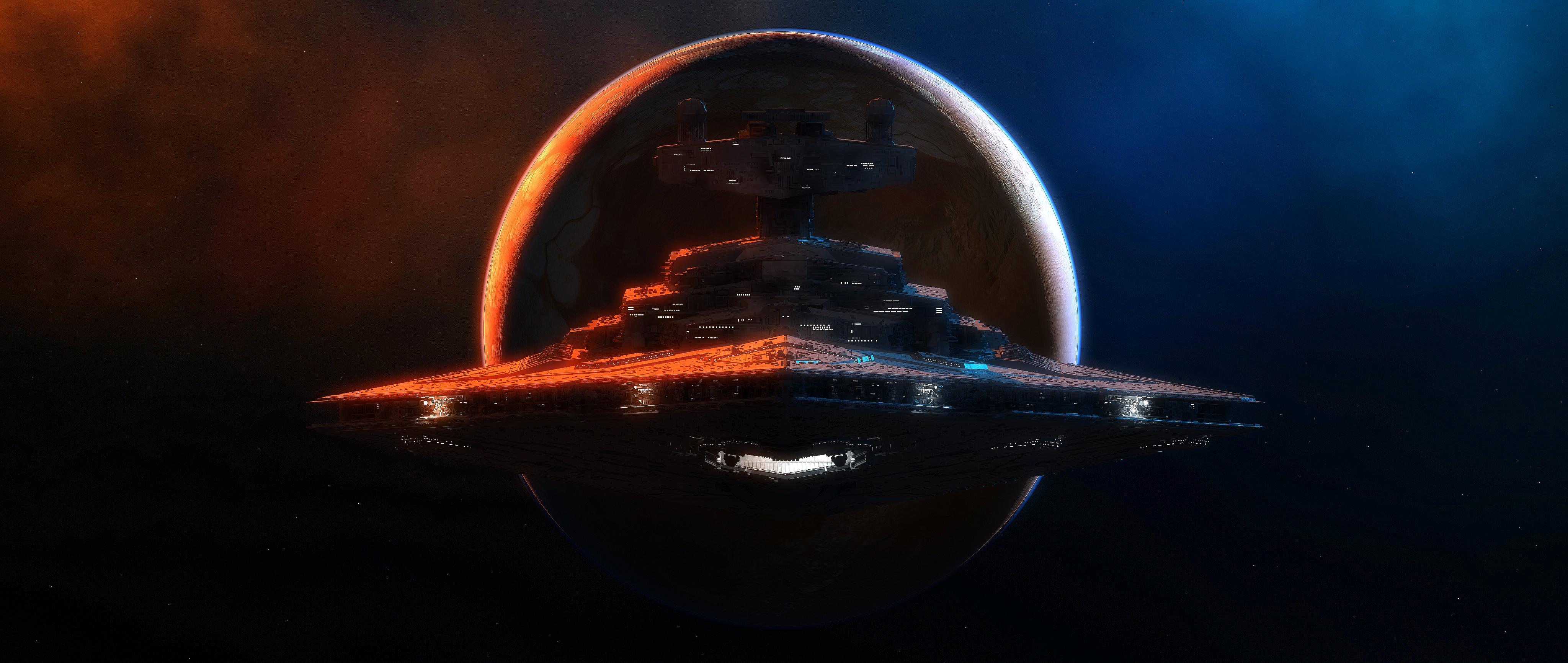 Planet Space Spaceship Star Destroyer Star Wars 4096x1732