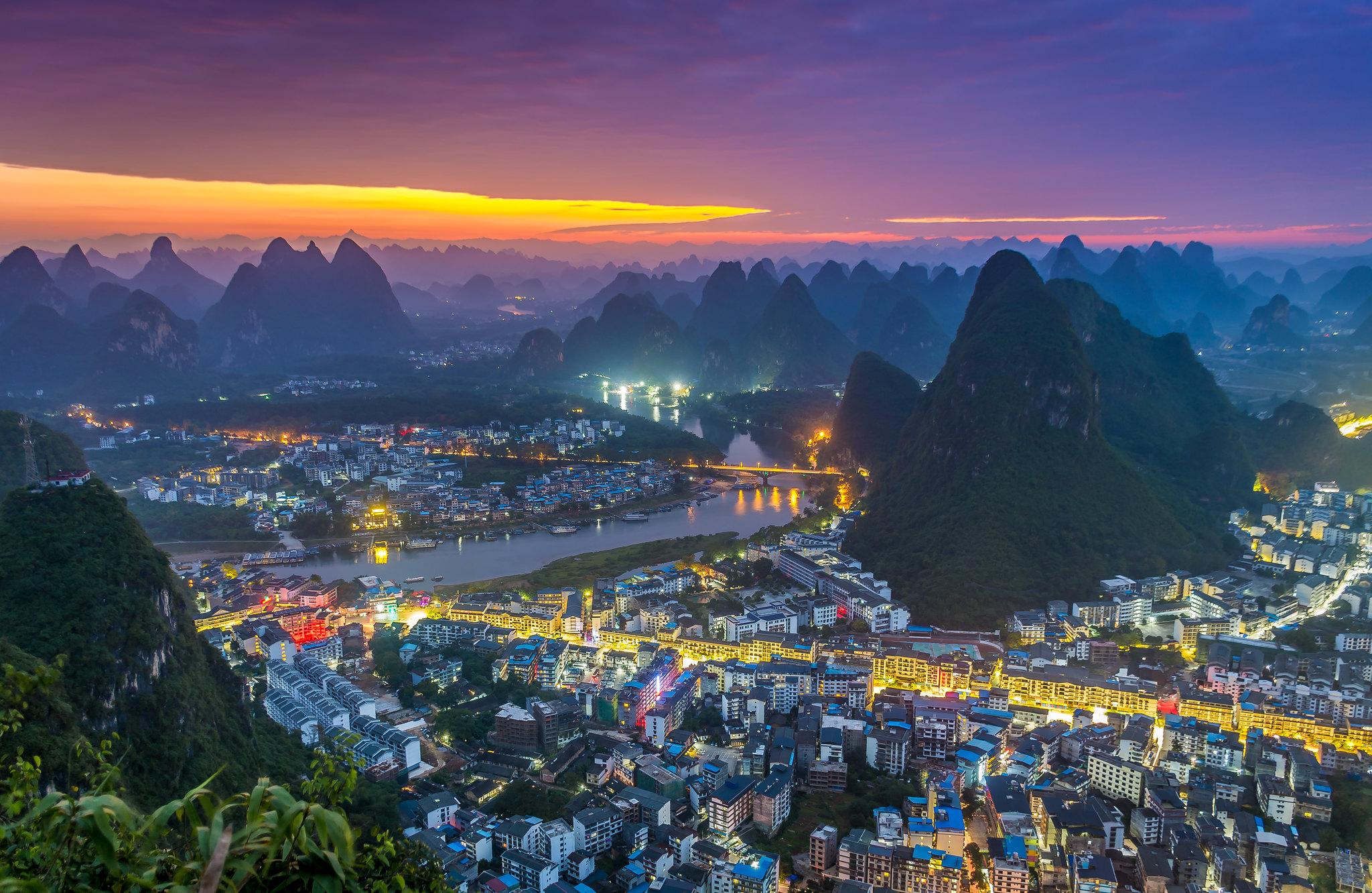 City Light Mountain Night 2048x1332