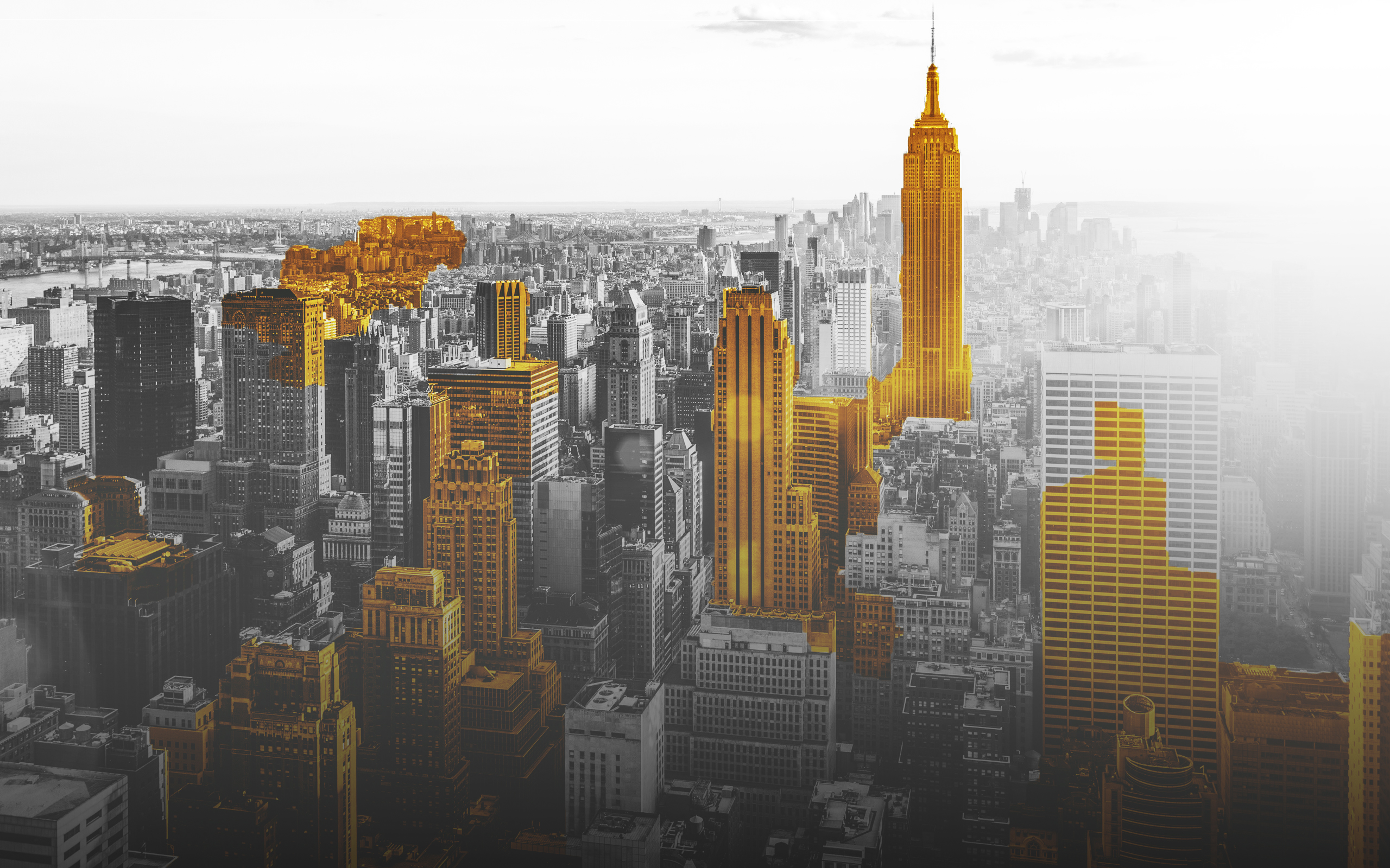 Gold City Black And Whit Digital Art New York City USA Selective Coloring Cityscape 2560x1600