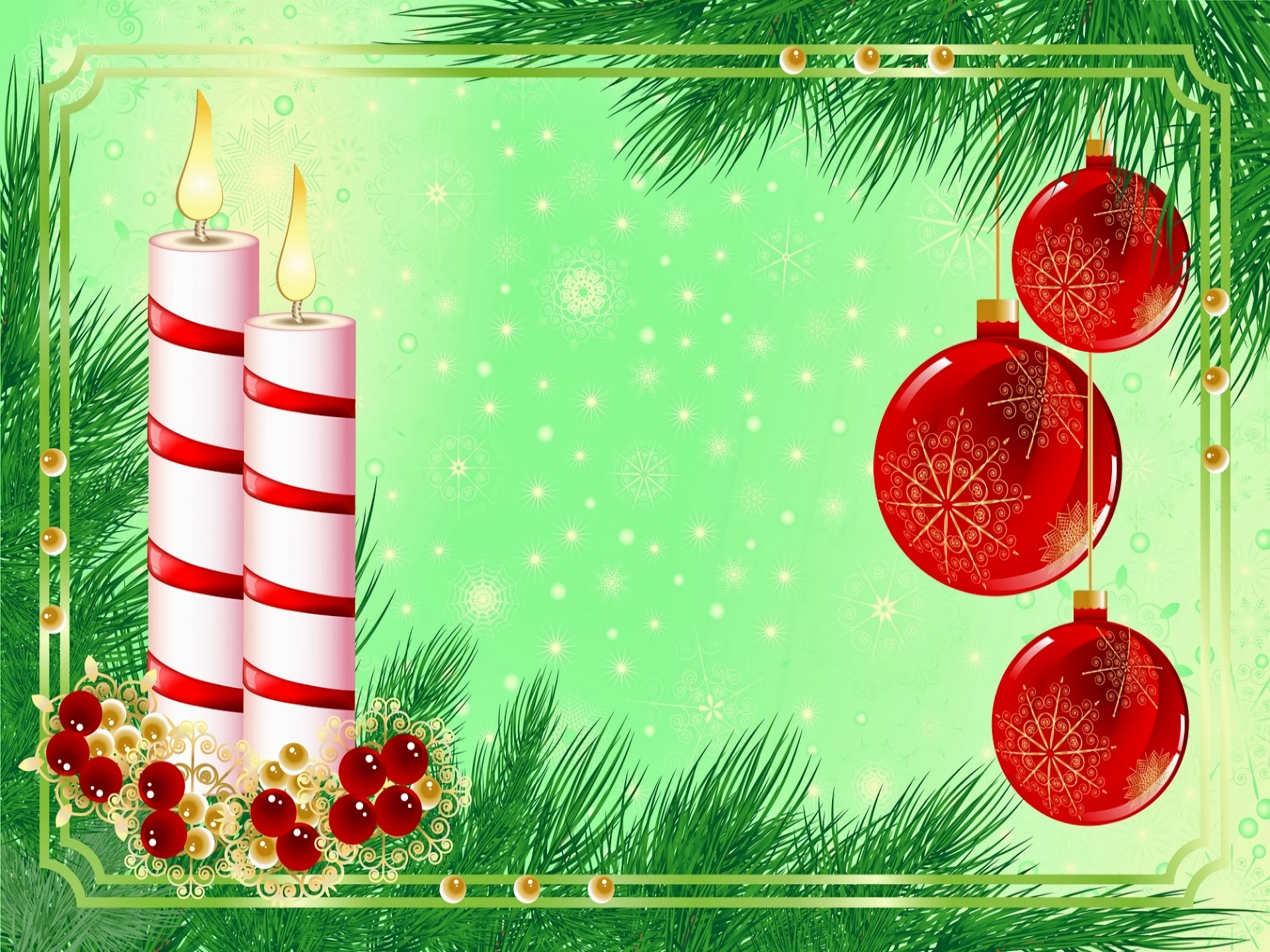 Bauble Candle Christmas Decoration Green 1920x1440