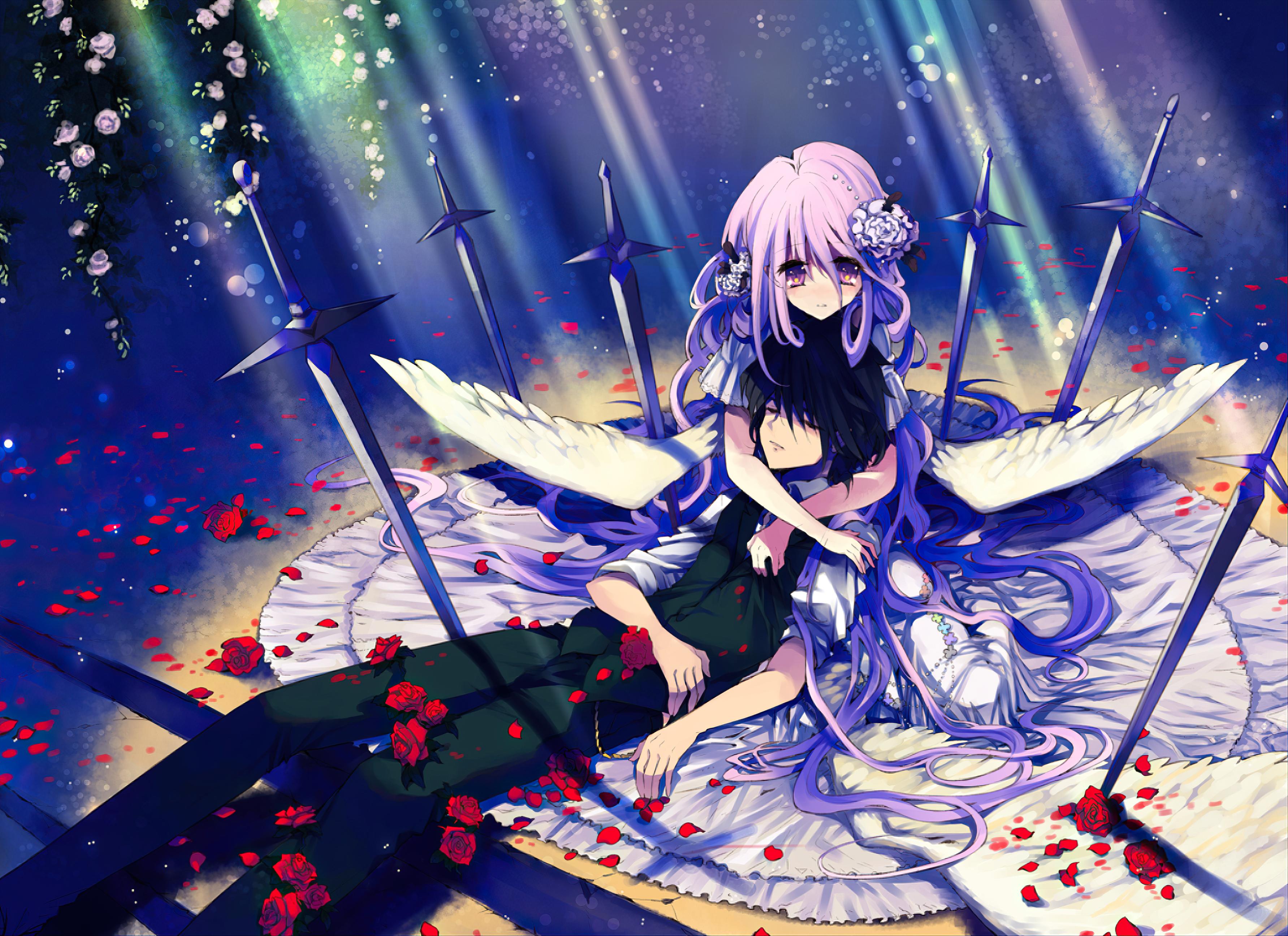 Black Hair Flower Long Hair Purple Eyes Purple Hair Short Hair Sword Wings 3566x2592