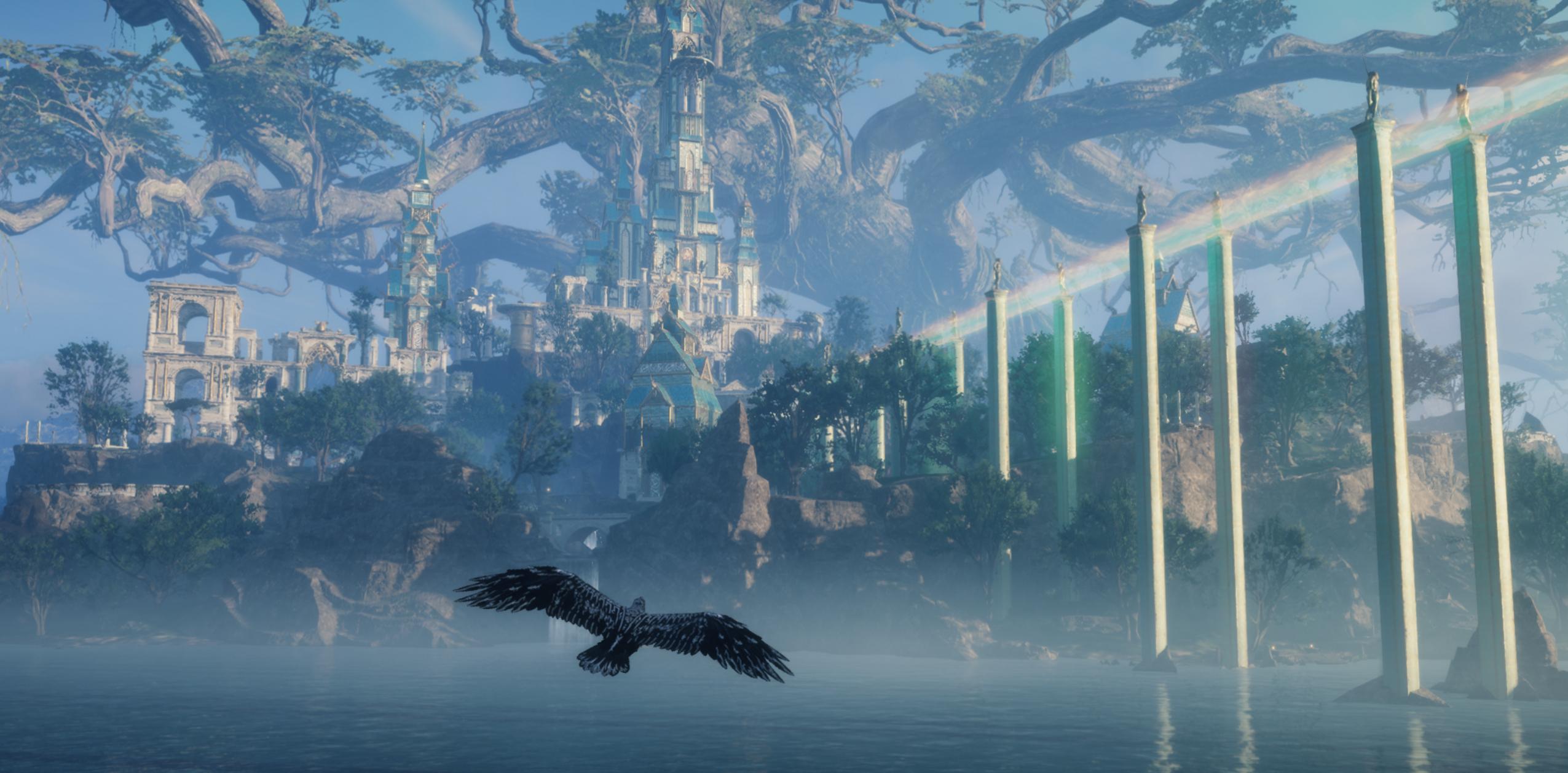 Assassins Creed Valhalla Landscape Mountains Trees Blue Raven Green Asgard 2551x1258