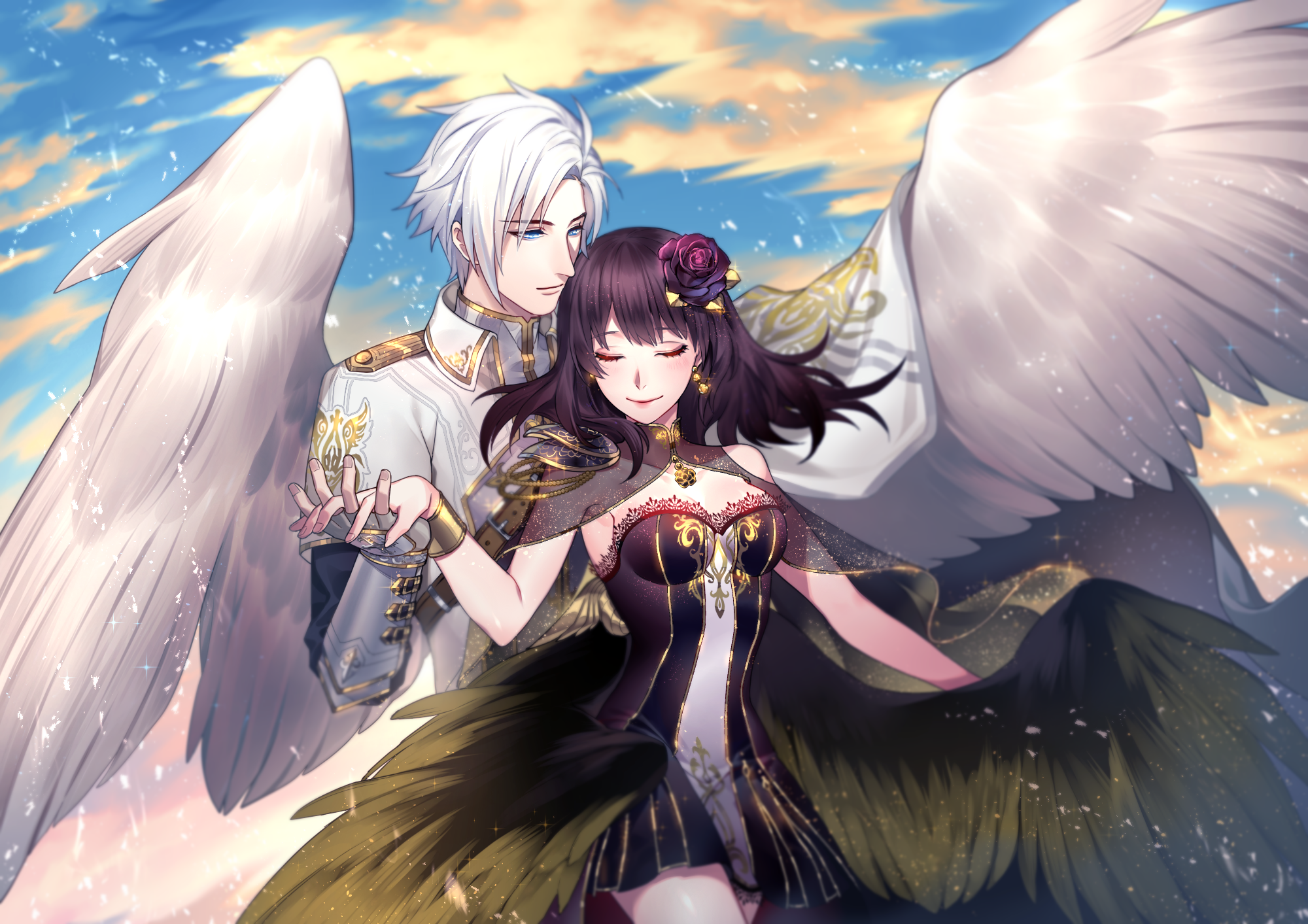 Blue Eyes Boy Girl Purple Hair White Hair Wings 2000x1413