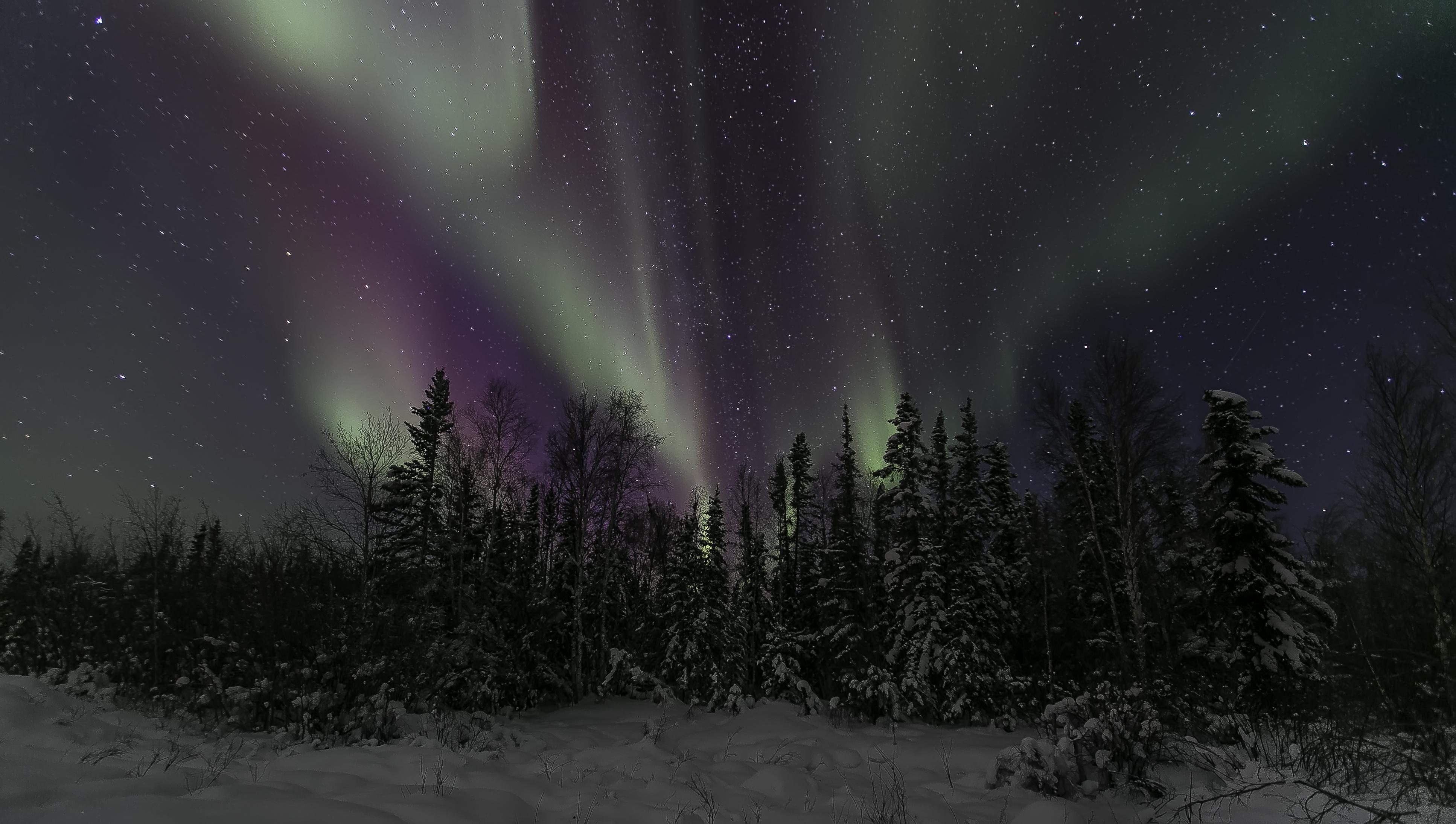 Aurora Borealis Nature Night Sky Start Winter 3868x2189