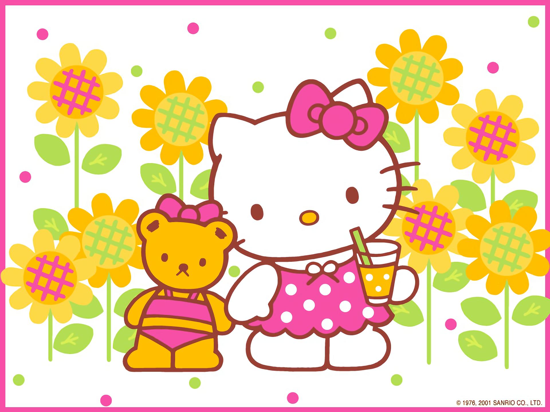 Flower Hello Kitty Teddy Bear 1920x1440