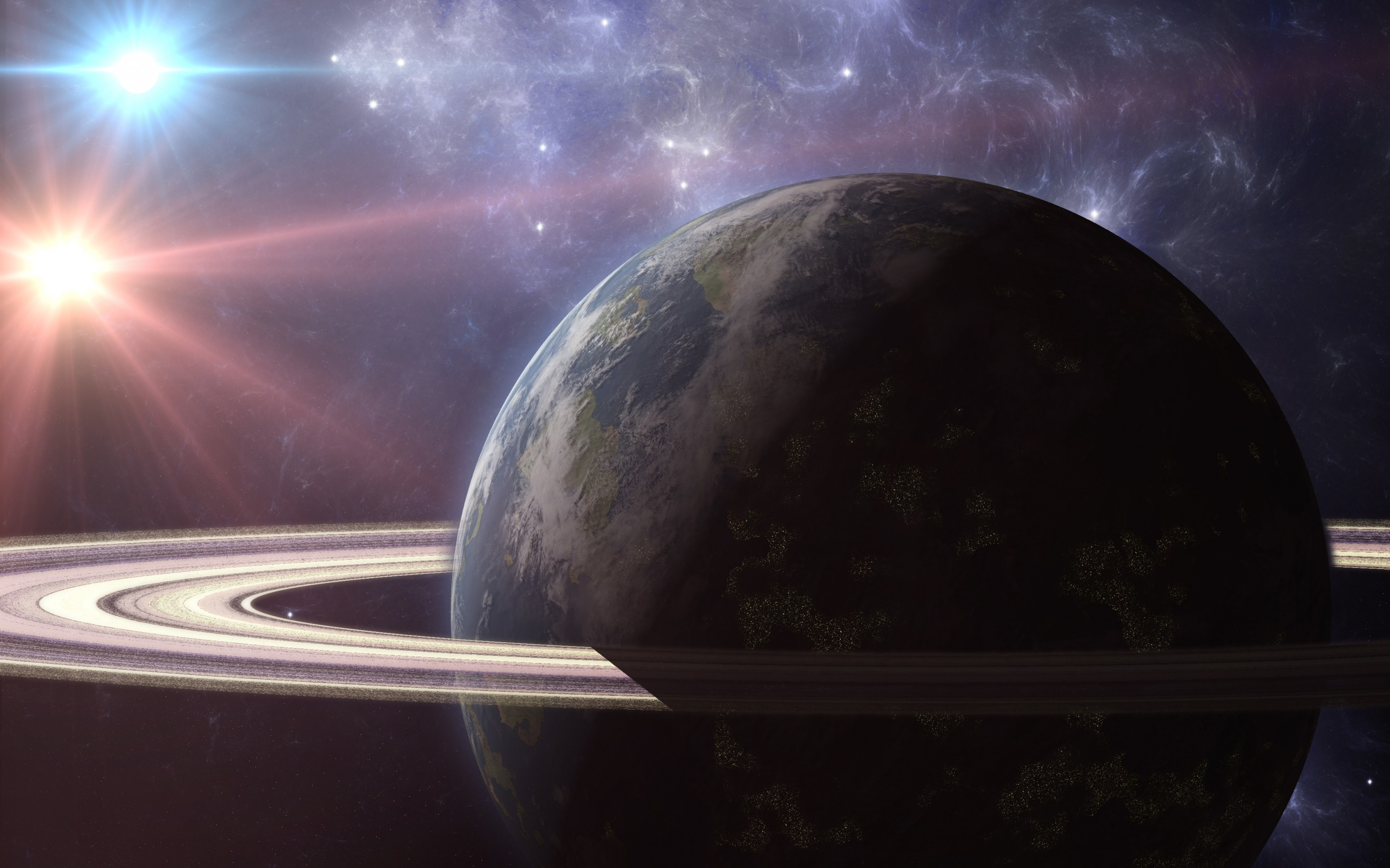Planet Planetary Ring Sci Fi Space 2880x1800