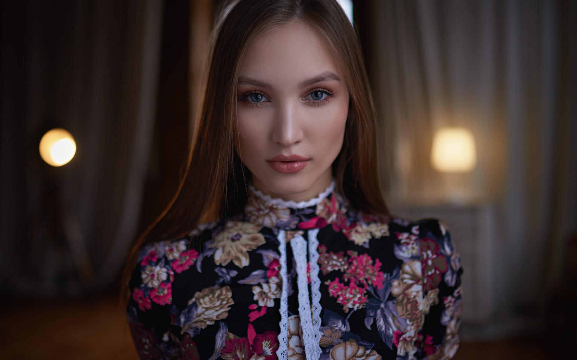 Women Face Portrait Sergey Fat Blue Eyes 1920x1200