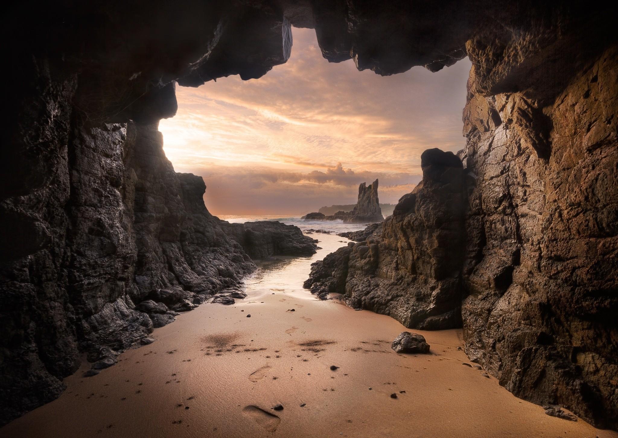 Beach Cave Earth Horizon Ocean Rock Sea 2048x1451