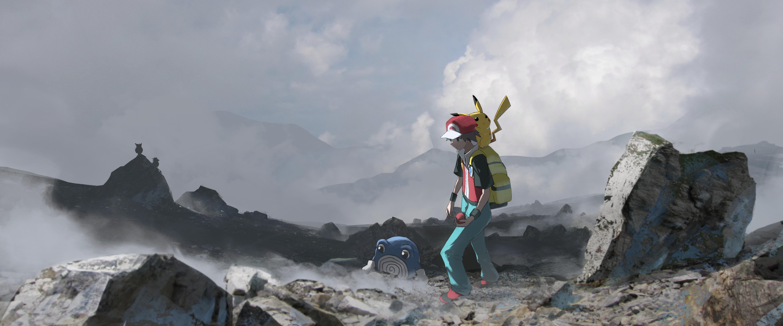 Boy Pikachu Pokemon Poliwhirl Pokemon Red Pokemon 6000x2501