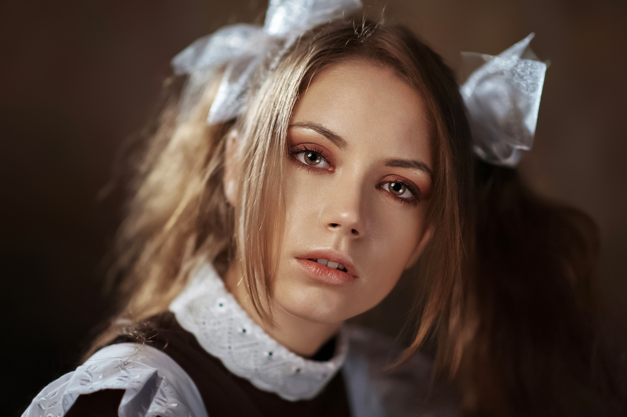 Maxim Maximov Women Ksenia Kokoreva Brunette Hair Accessories Portrait Makeup Eyeshadow Open Mouth S 2048x1363