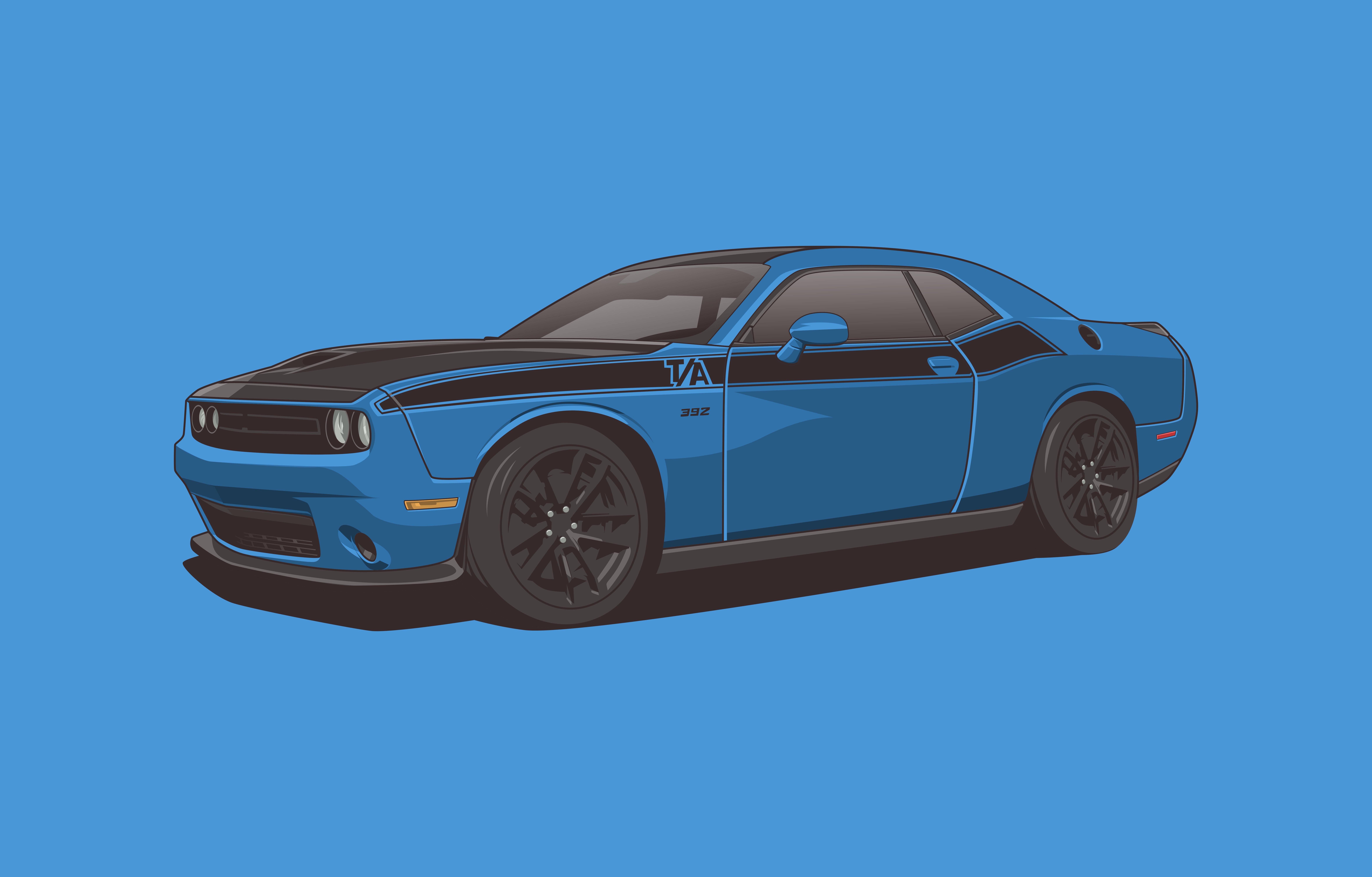 Blue Car Dodge Dodge Challenger Muscle Car 9385x6000