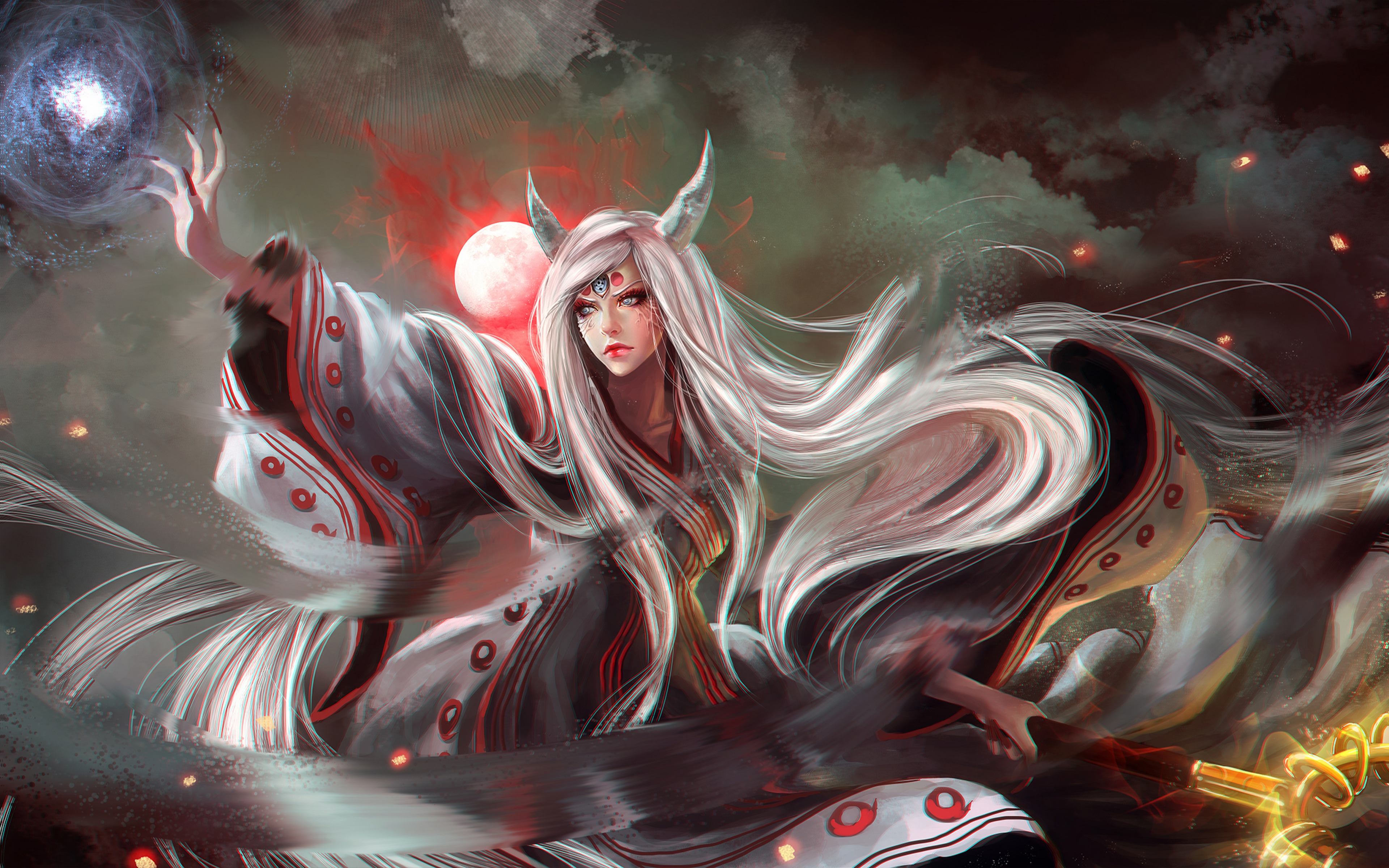 Girl Horns Kaguya Tsutsuki Long Hair Moon Naruto White Hair Woman 3840x2400