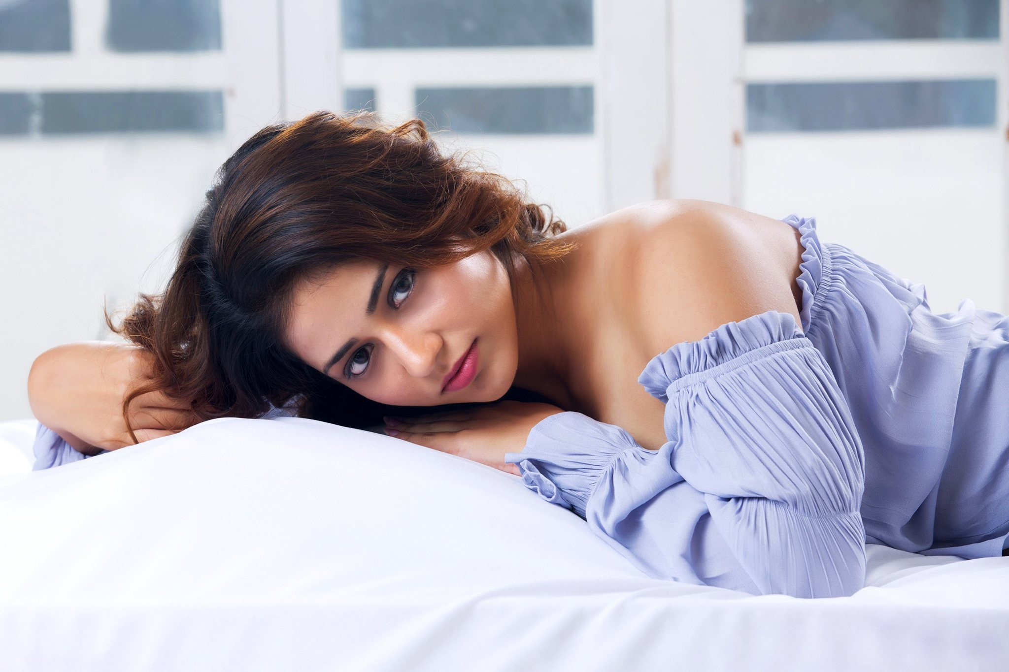 Model Women Red Lipstick Hands In Hair Blue Dress In Bed Actress Indian Model 2048x1365