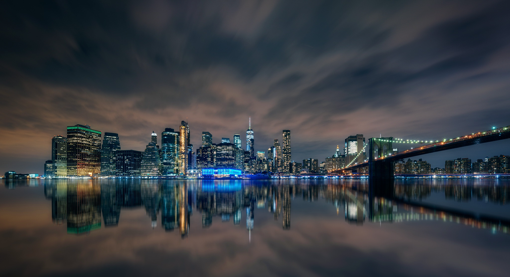 Bridge Brooklyn Bridge Building City Manhattan New York Night Reflection Skyscraper Usa 2048x1113
