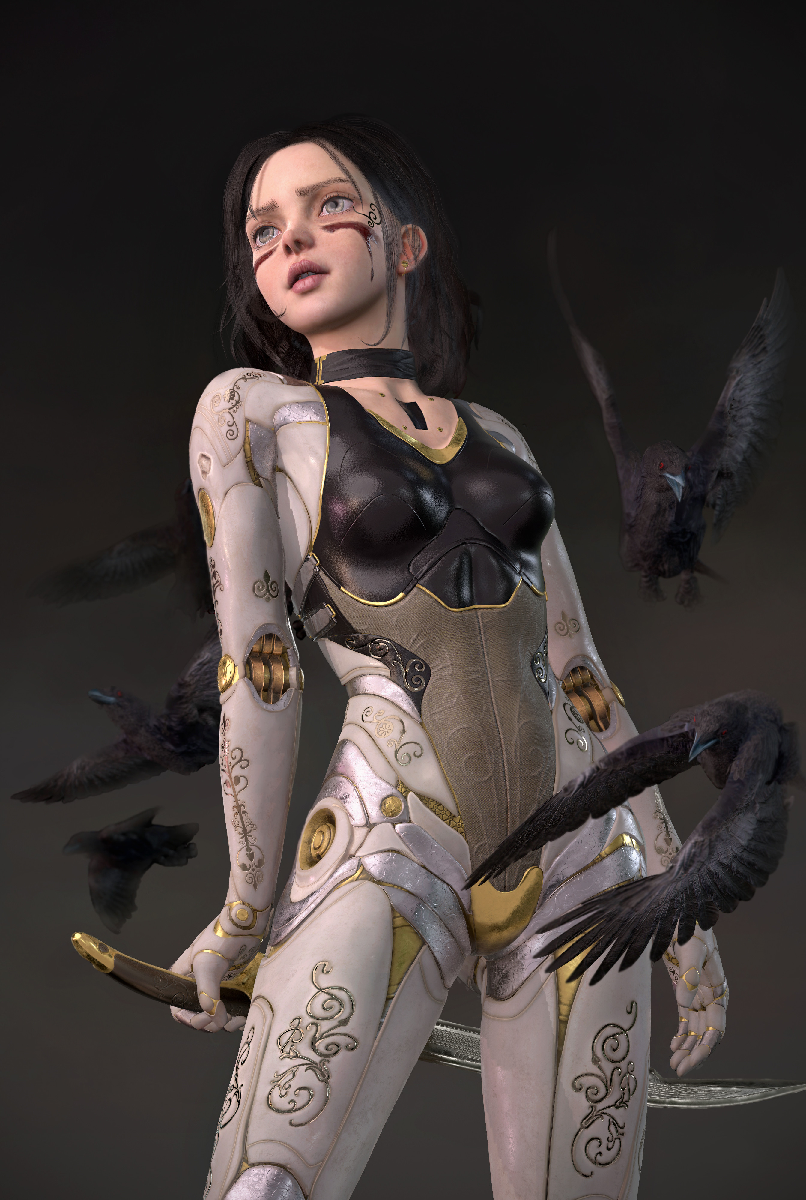 Andrea Savchenko Crow Raven Red Eyes Of Raven Portrait Display Digital Art Women Short Hair White Ey 2688x4000