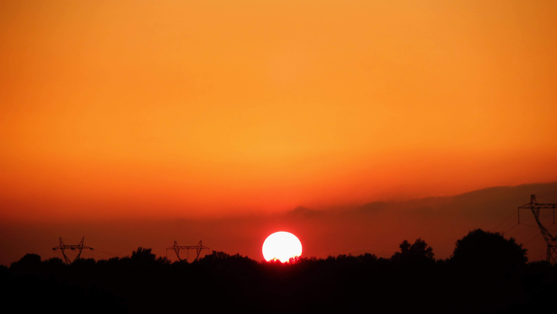 Africa Algeria Nature Sky Sun Sunset Orange Color 6000x3378