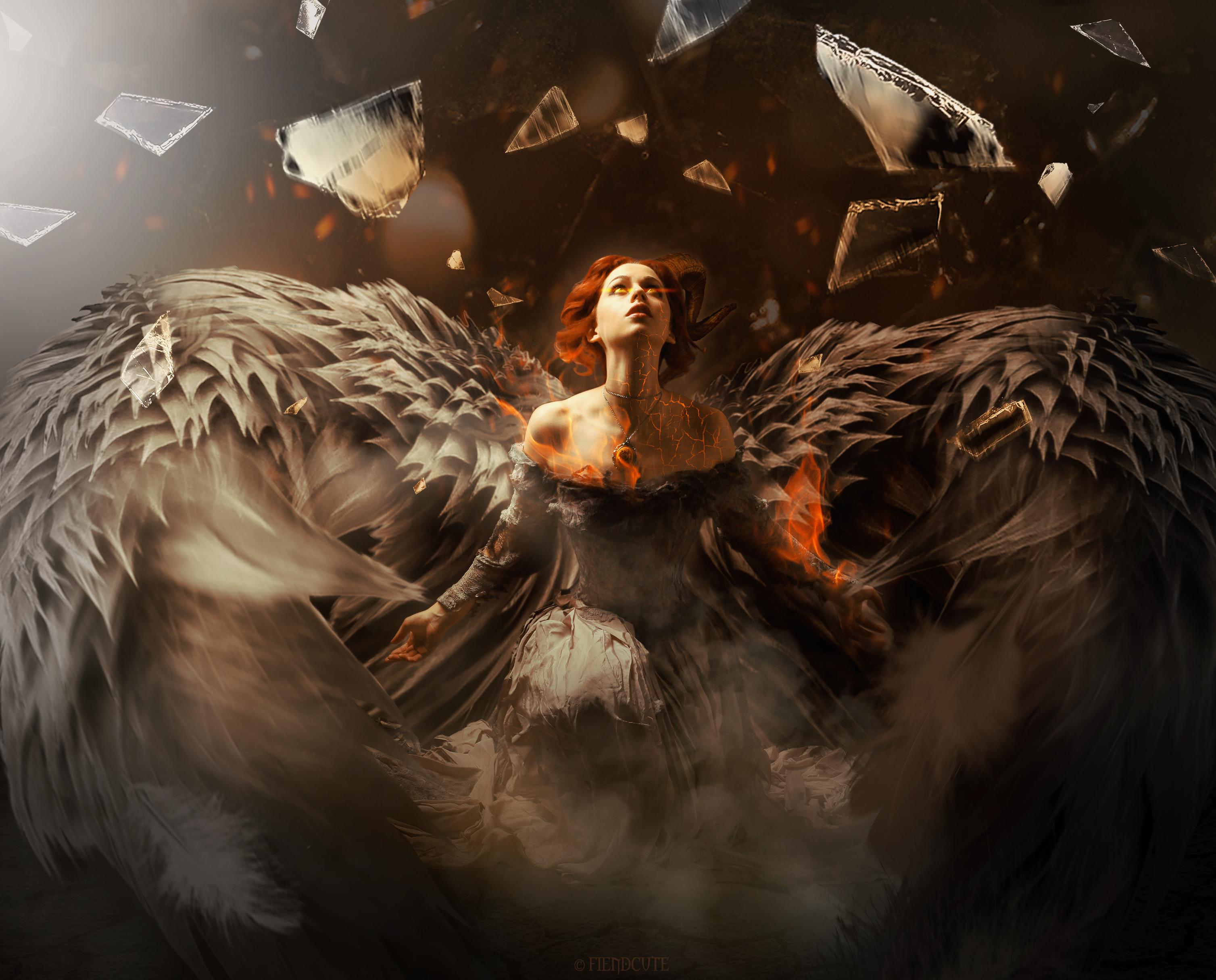 Angel Girl Orange Hair Wings Woman 3015x2430