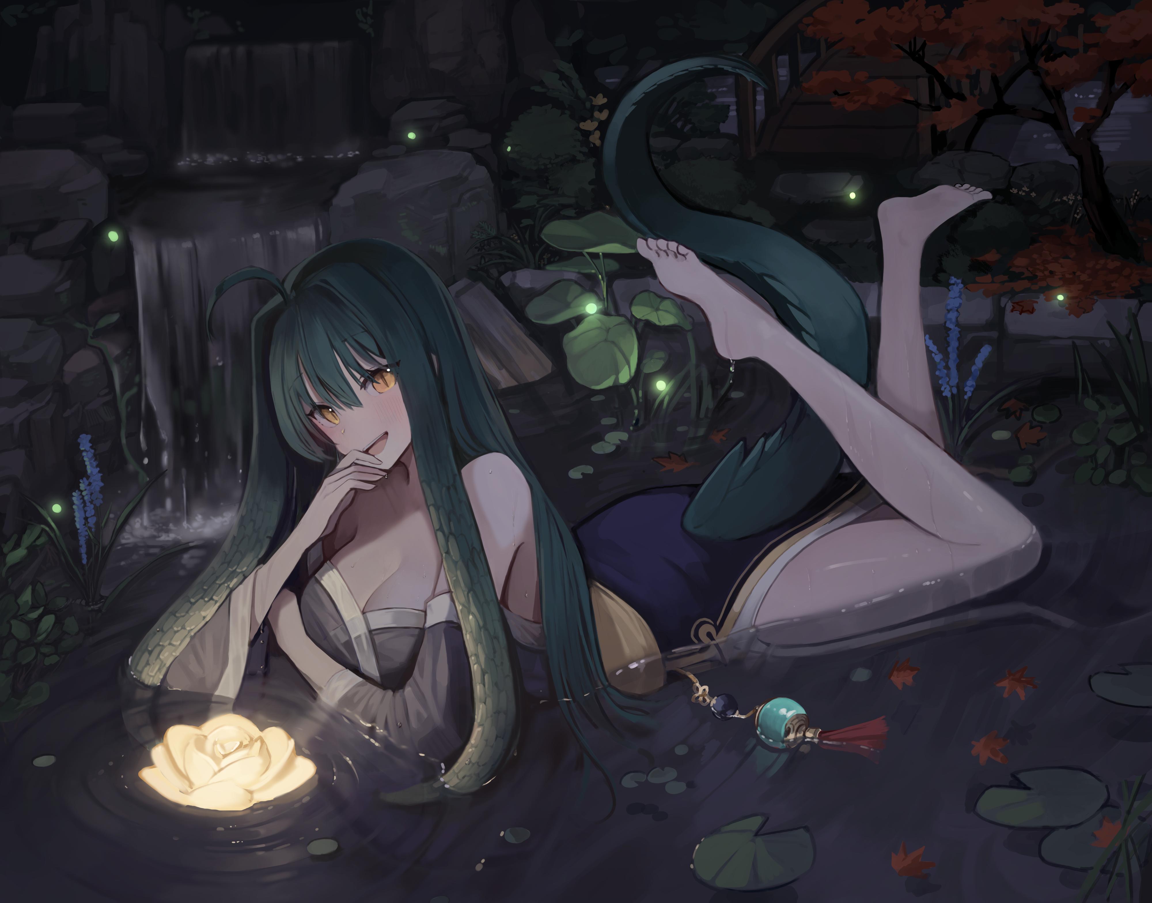Anime Anime Girls Digital Art Artwork 2D Portrait Seorang Monster Girl Animal Eyes Tail Water Flower 4000x3137