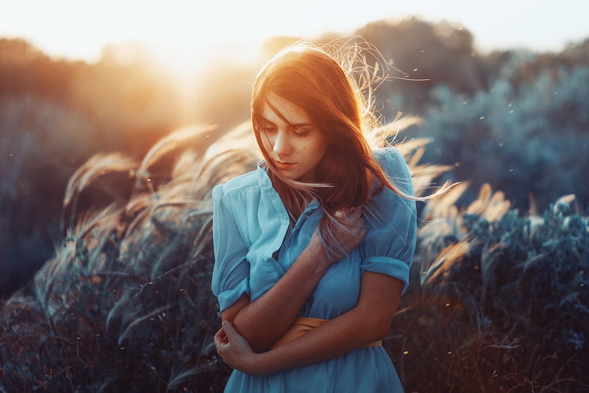 Blue Dress Depth Of Field Girl Model Mood Redhead Sunrise Woman 2048x1366