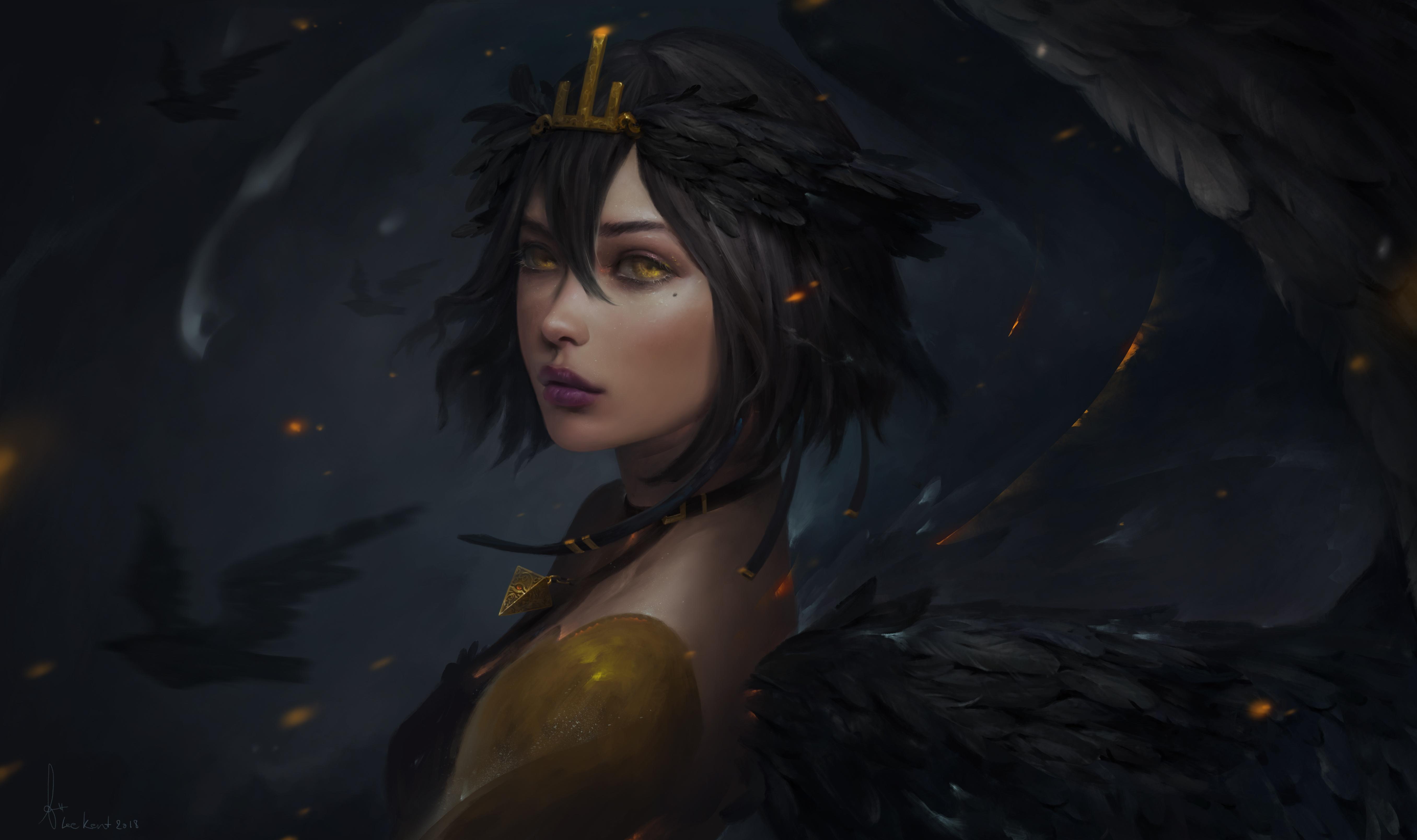 Angel Black Hair Girl Lipstick Short Hair Woman Yellow Eyes 5424x3216