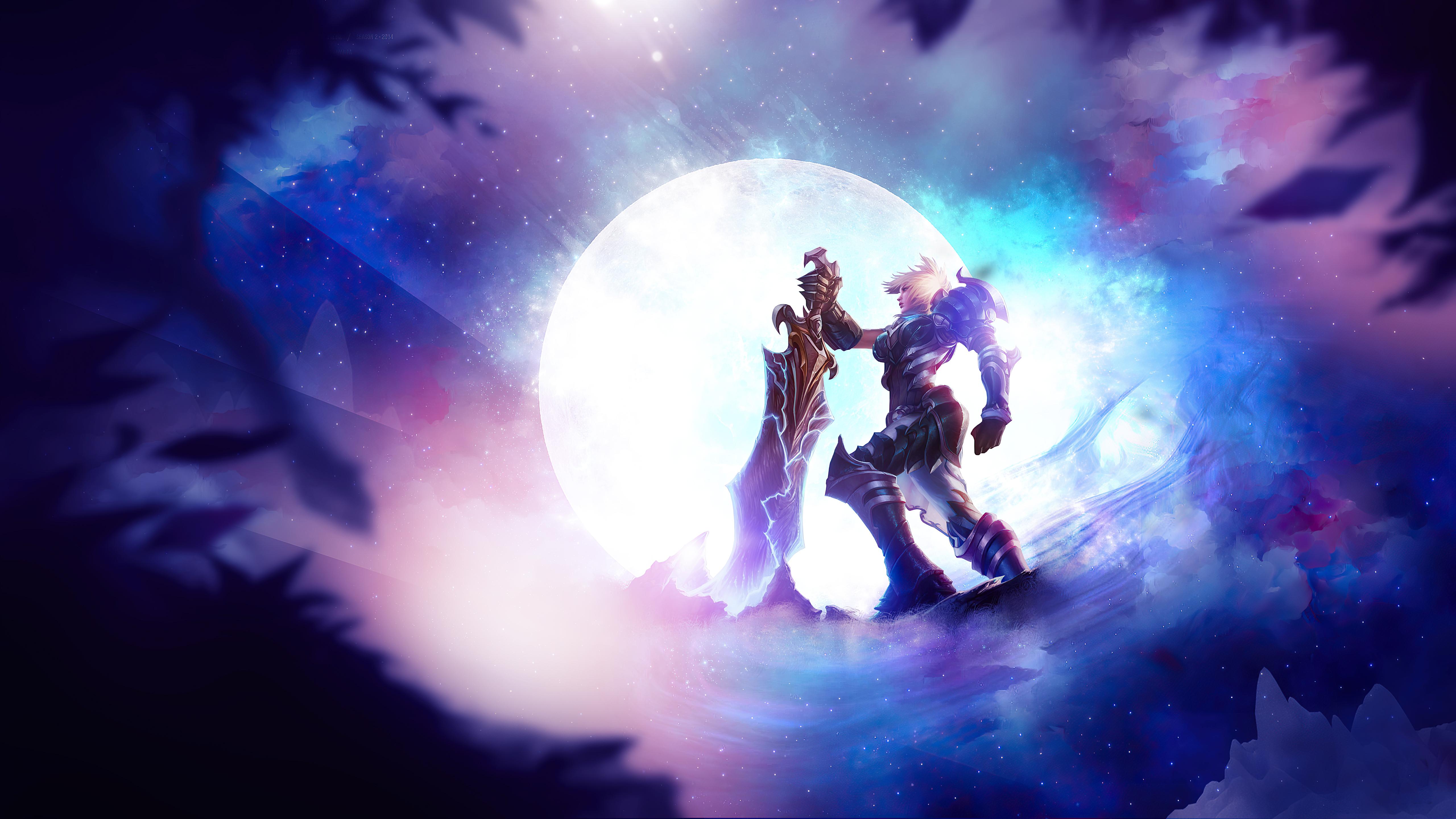 Girl League Of Legends Moon Riven League Of Legends Sword Woman Warrior 5120x2880