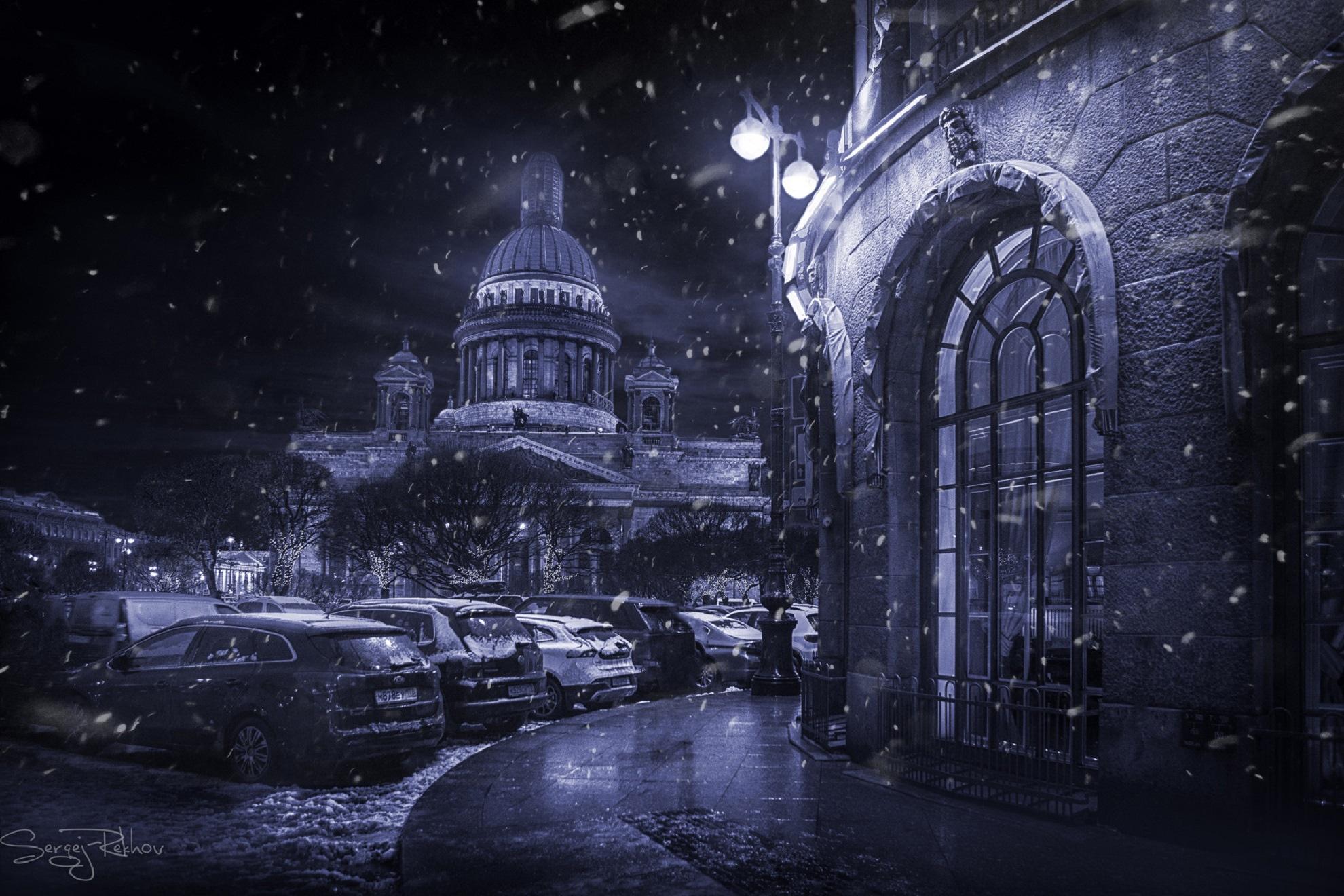 Car City Night Saint Petersburg Snow Winter 1980x1320