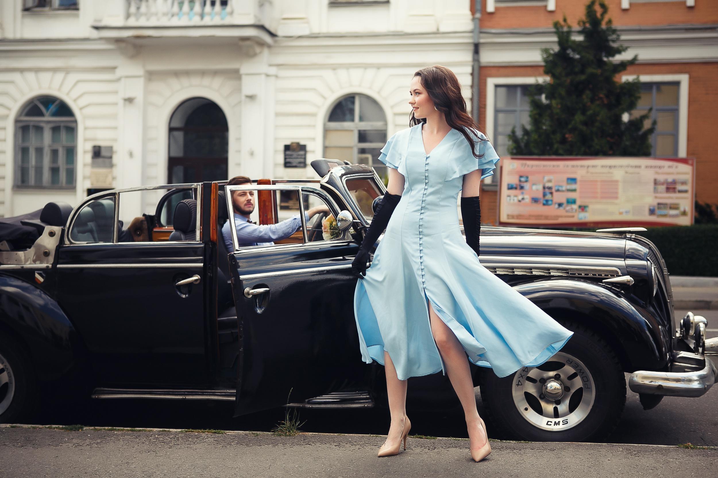Women Men Urban Outdoors Women Outdoors Women With Cars Car Black Cars Vehicle Dress Blue Dress Glov 2500x1666