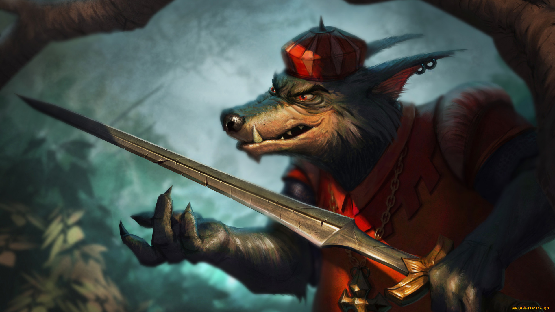 Fantasy Art Sword Creature Artwork Wolf Red Eyes Hat Claws Robin Hood 1920x1080