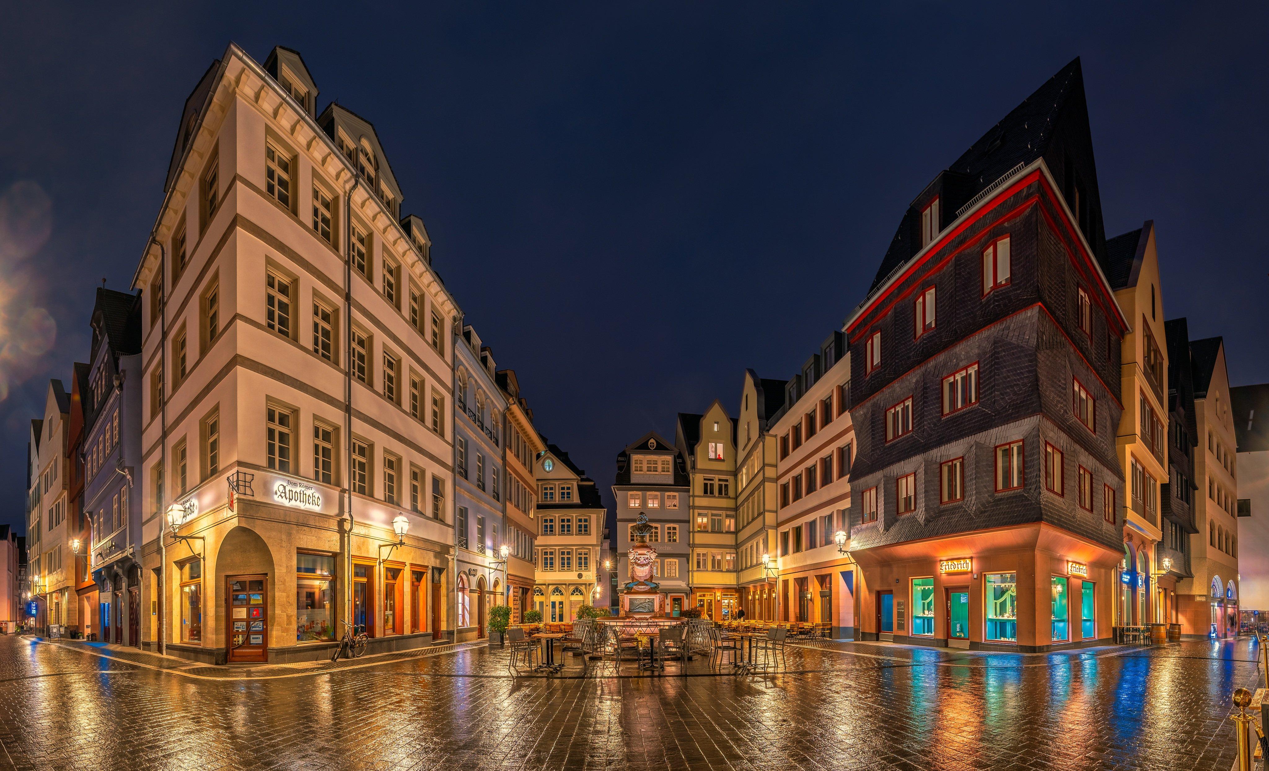 City Frankfurt Germany Light Night 4096x2491