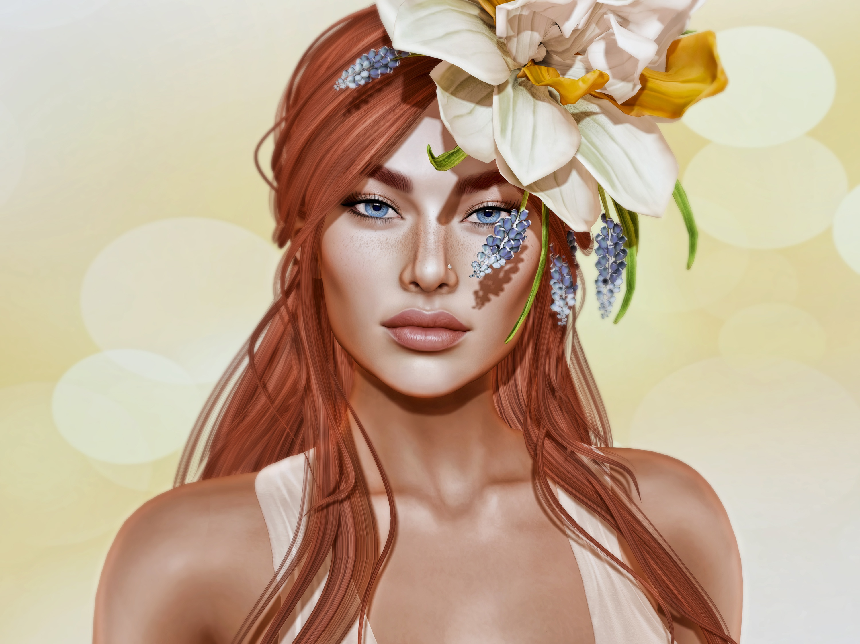 Blue Eyes Face Flower Freckles Girl Long Hair Redhead Woman 3000x2250