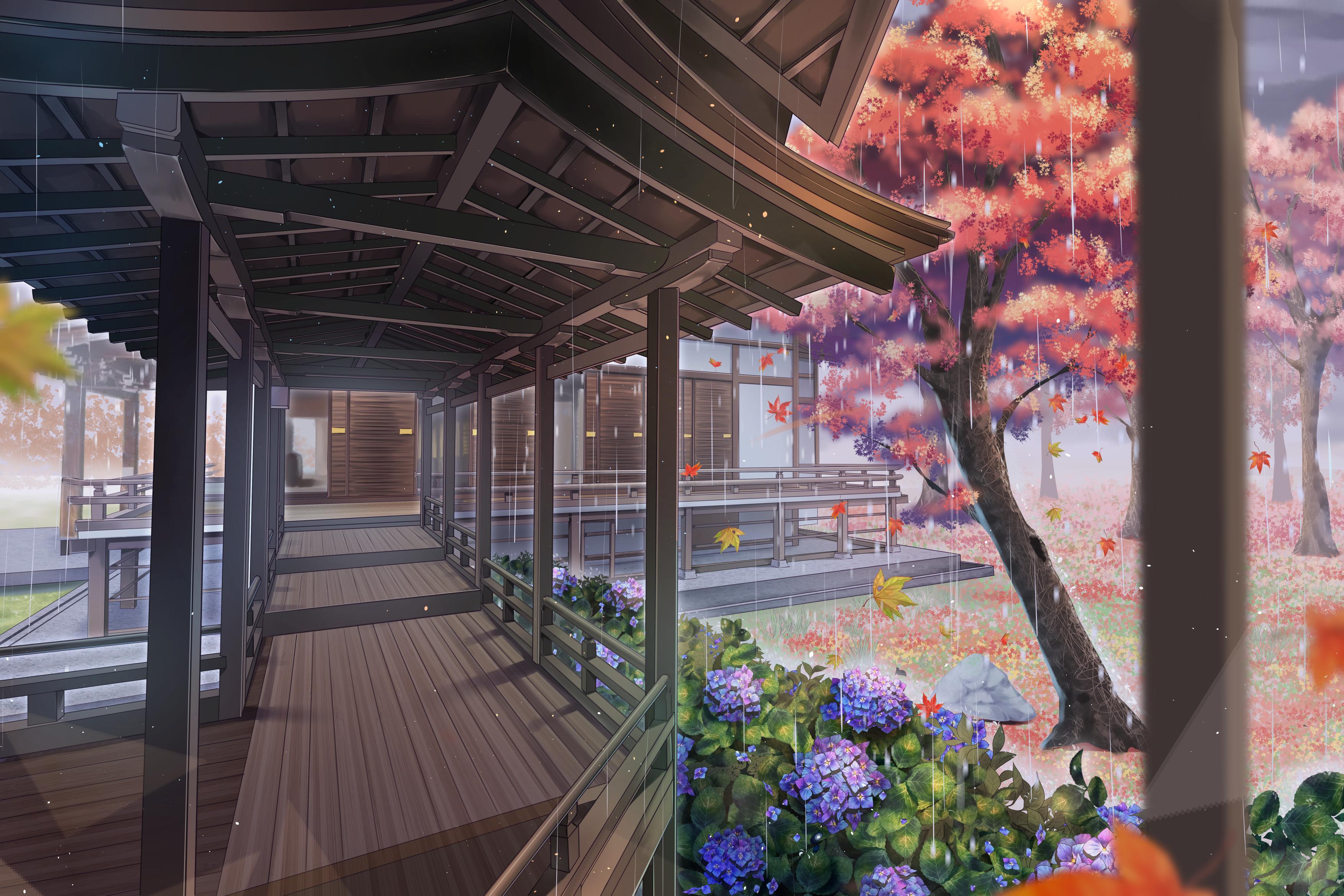 Building Flower Hydrangea Rain Tree 3508x2339