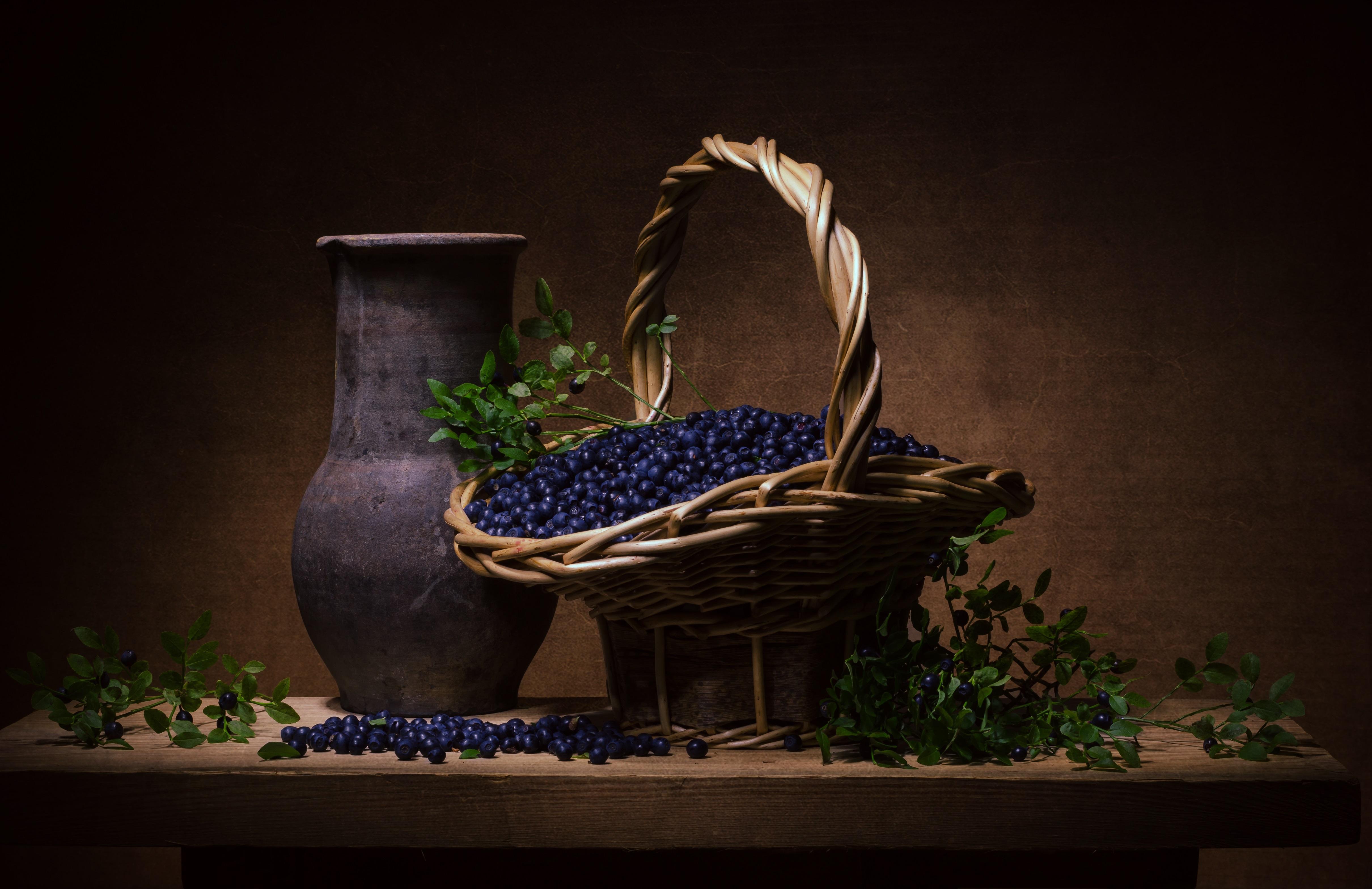 Basket Berry Blueberry Fruit Still Life Vase 4840x3136