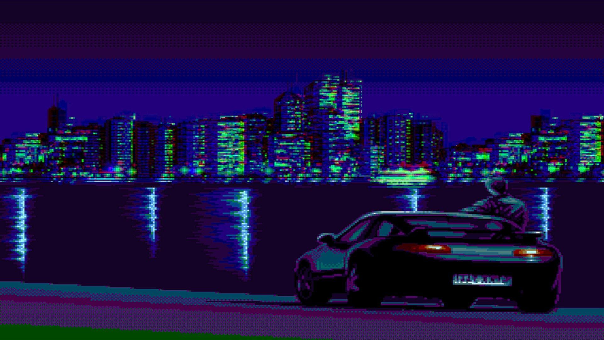 Vaporwave Synthwave Pixel Art Porsche 928 Porsche Wallpaper Resolution 1920x1080 Id 1164251 Wallha Com