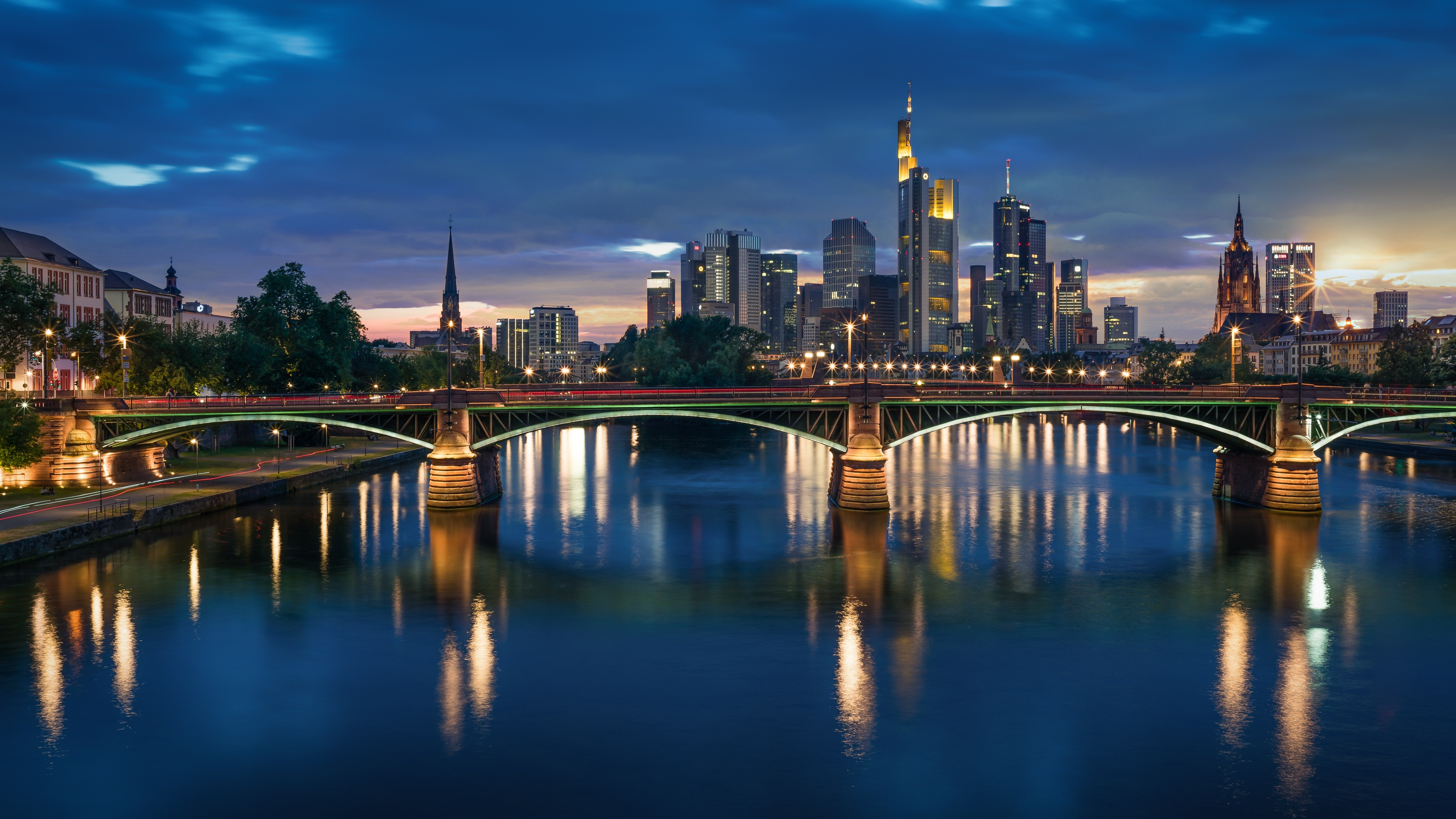 Bridge City Frankfurt Germany Night River 3000x1687