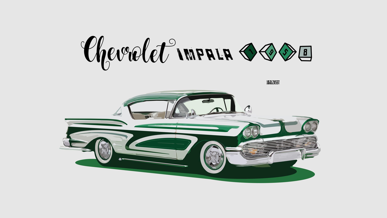 Artistic Car Chevrolet Chevrolet Impala Classic Car Digital Art Green Car Vintage 3000x1688
