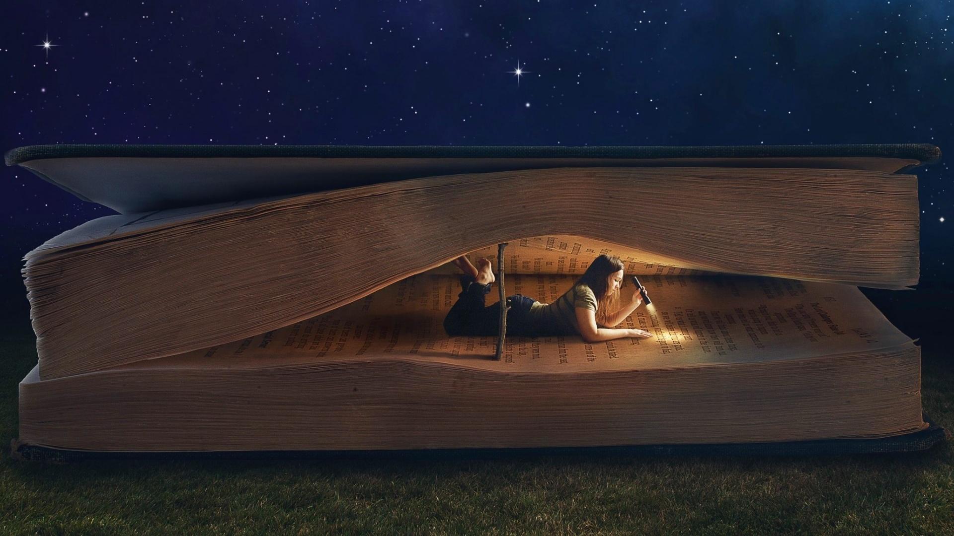 Book Flashlight Girl Reading Woman 1920x1080
