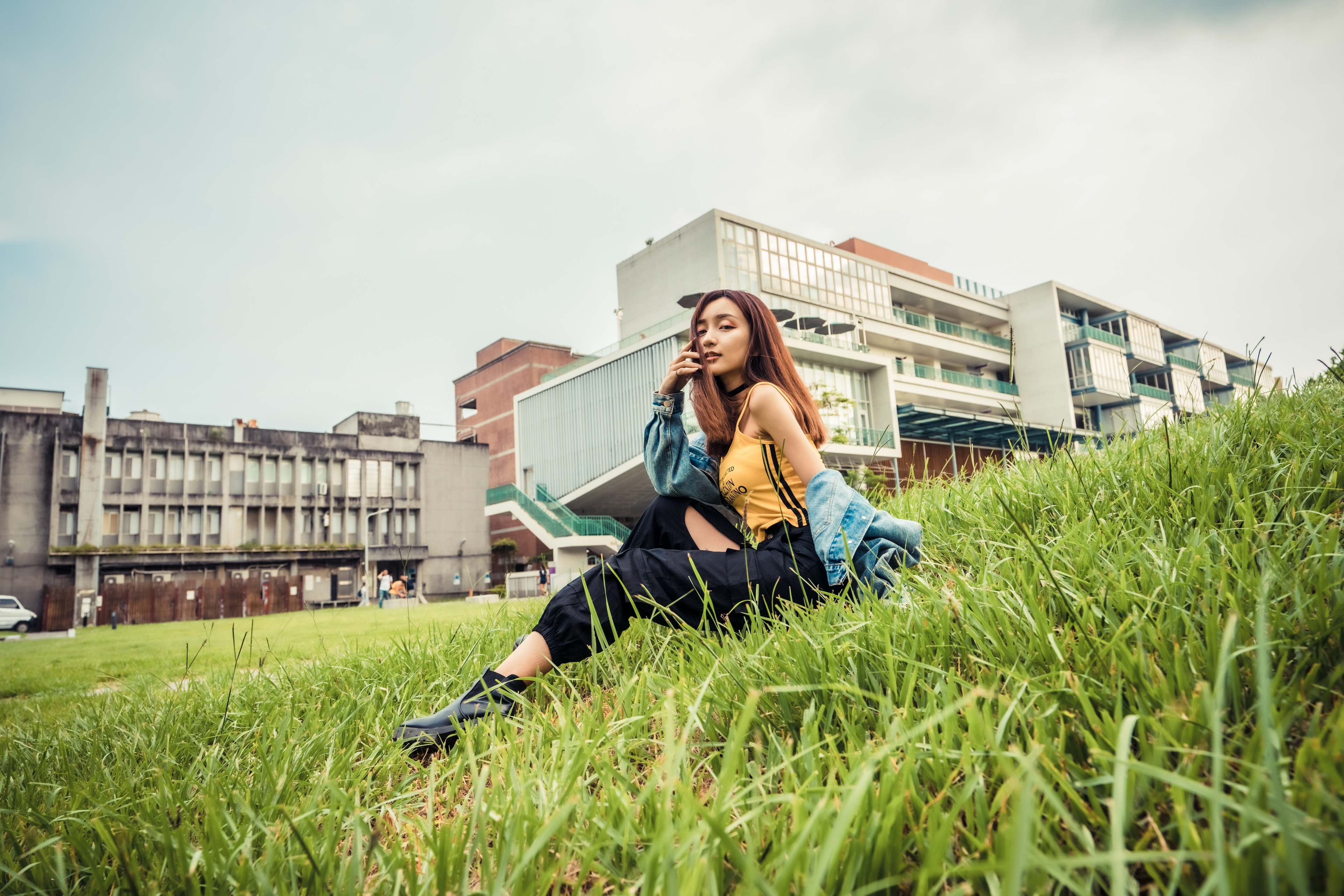 Asian Women Model Long Hair Brunette Grass Sitting Black Pants Depth Of Field Yellow Shirt Jeans Jac 3840x2561