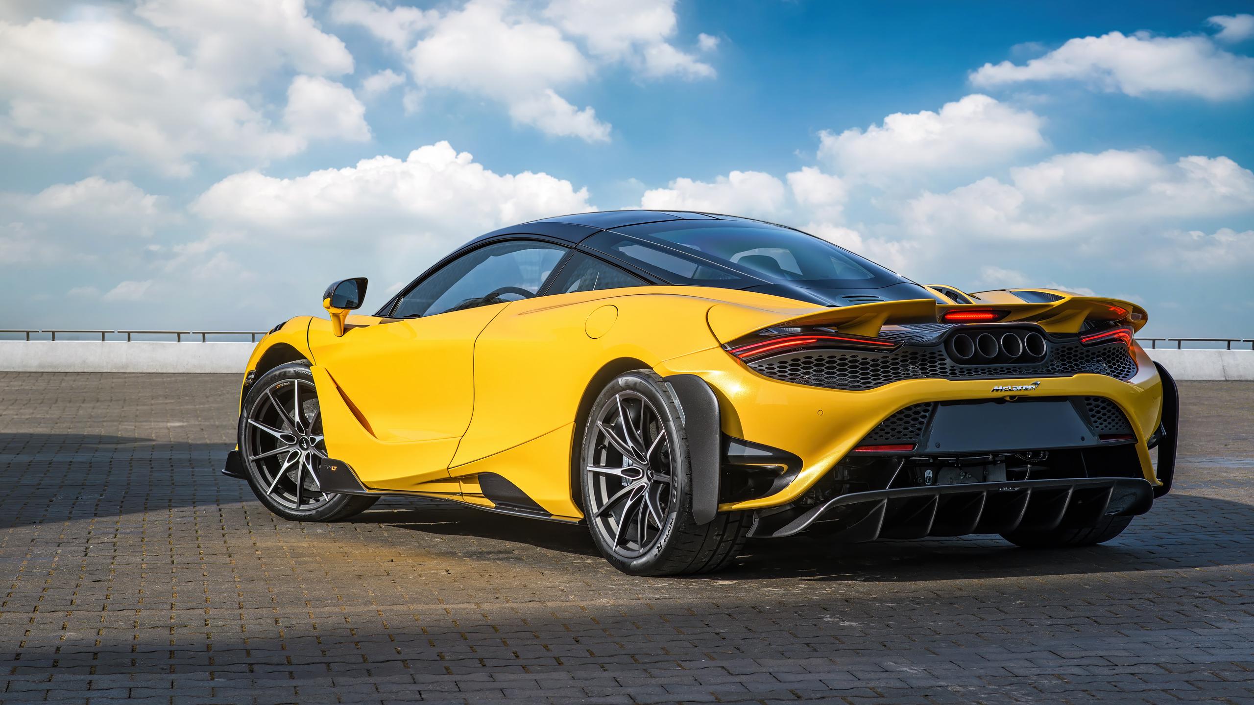 McLaren 765LT McLaren Supercars Sports Car Car Vehicle Yellow Cars Clouds 2560x1440