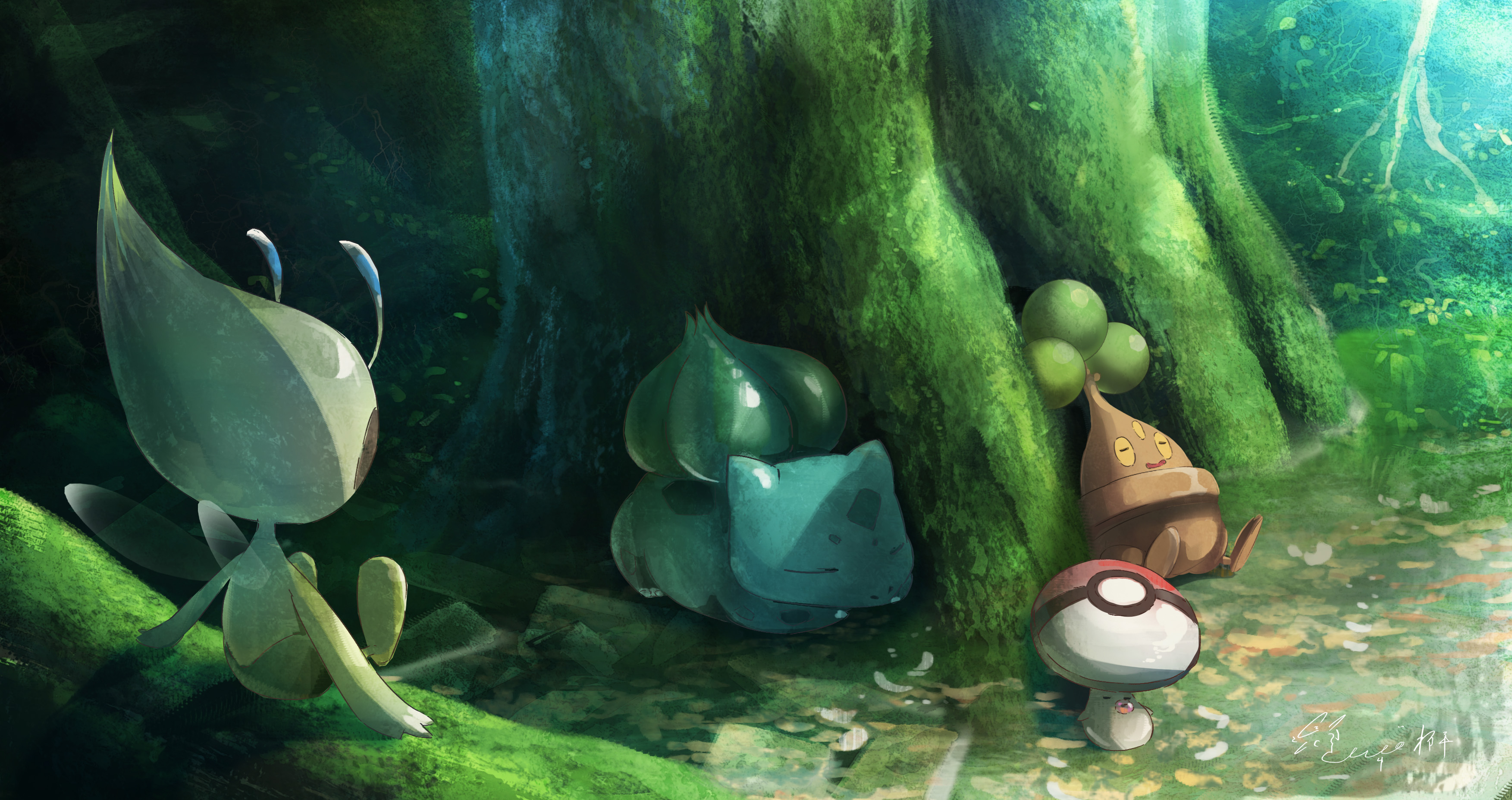 Bonsly Pokemon Bulbasaur Pokemon Celebi Pokemon Foongus Pokemon 3506x1855