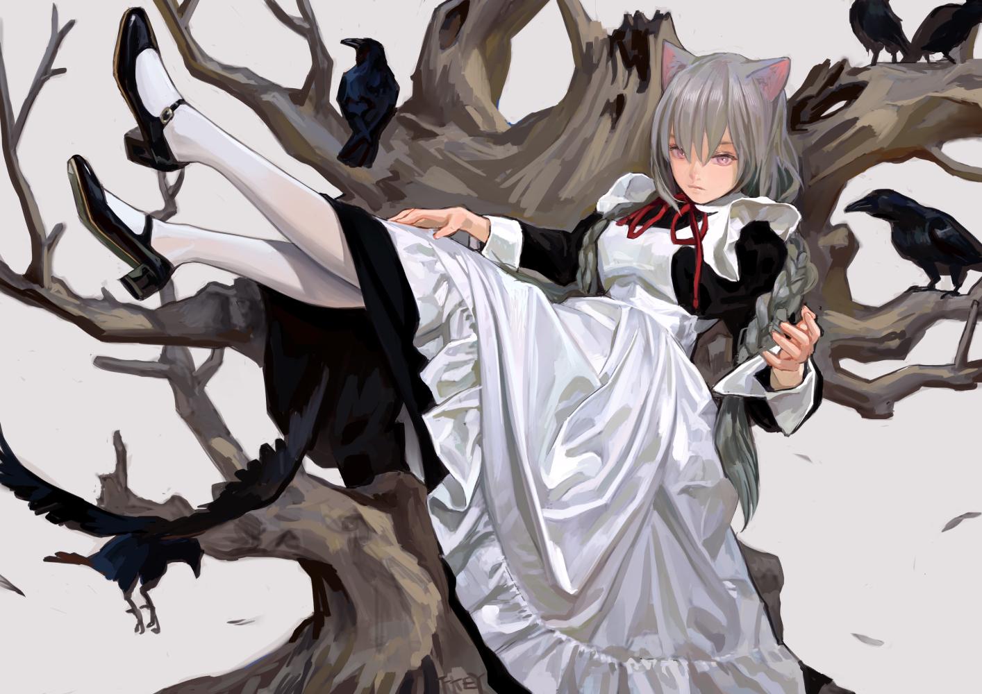 Anime Girls Original Characters Raven Maid Outfit Cat Girl Nekomimi Monster Girl Braided Hair Black  1414x1000