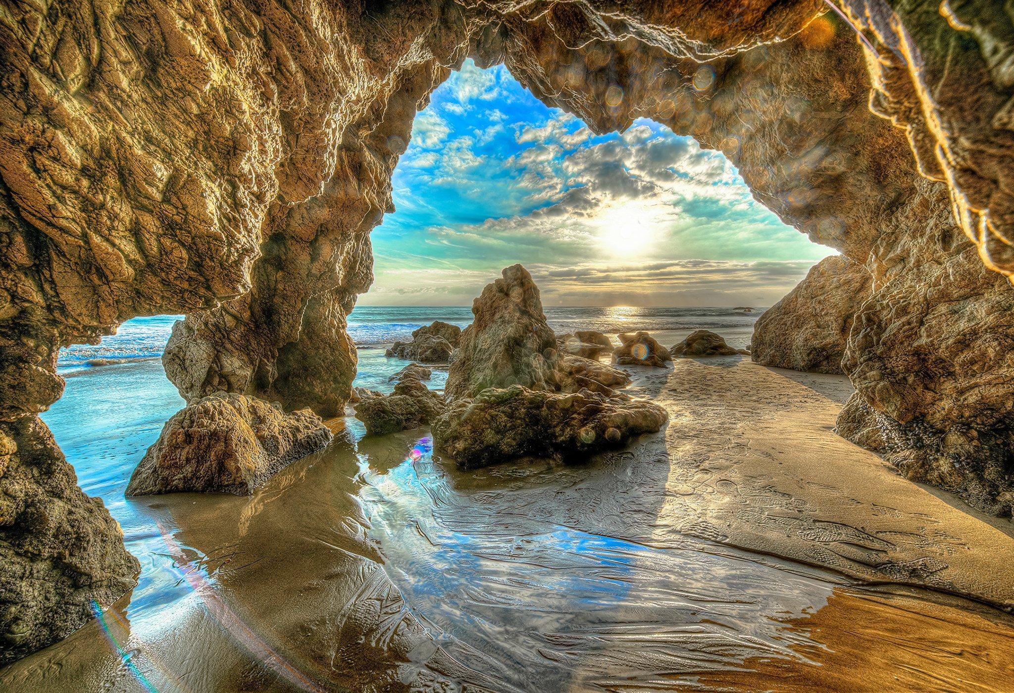 Beach Cave Cloud Earth Hdr Horizon Ocean Rock Sea Sky Sunrise 2048x1401