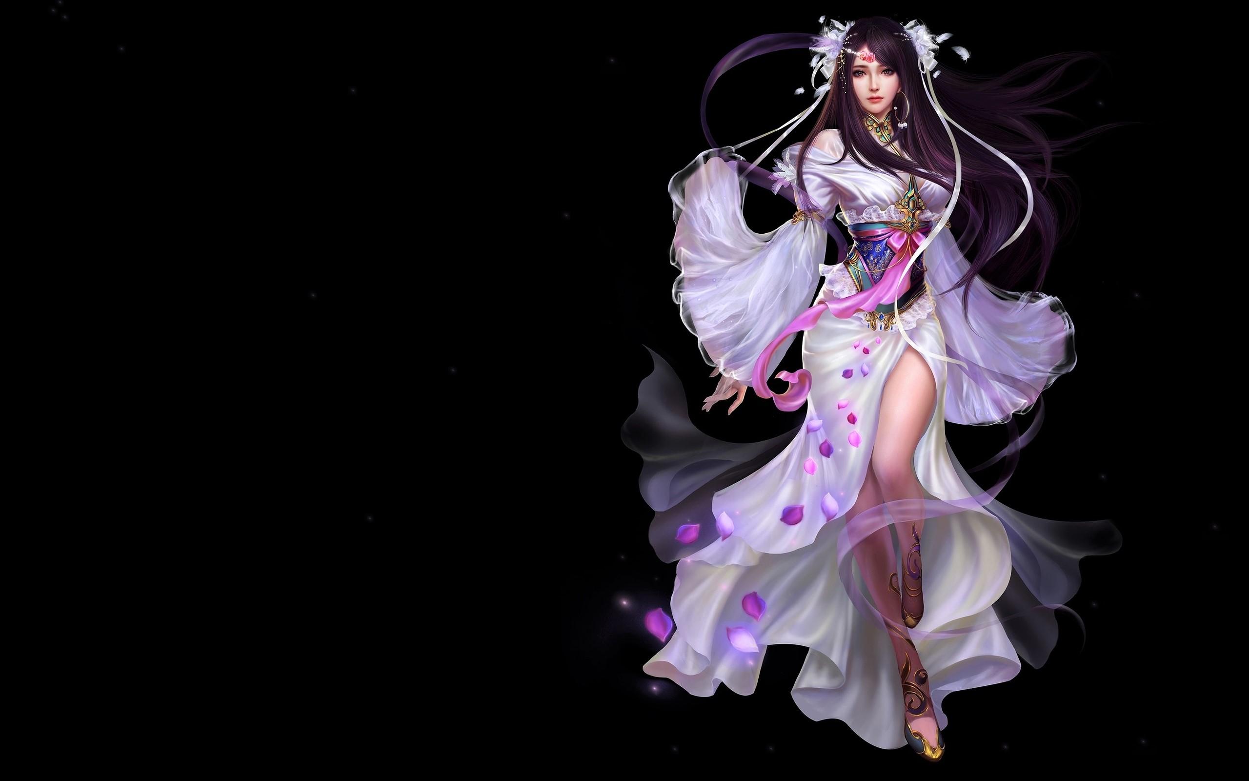 Fantasy Girl Long Hair Oriental Petal Purple Hair Woman 2560x1600
