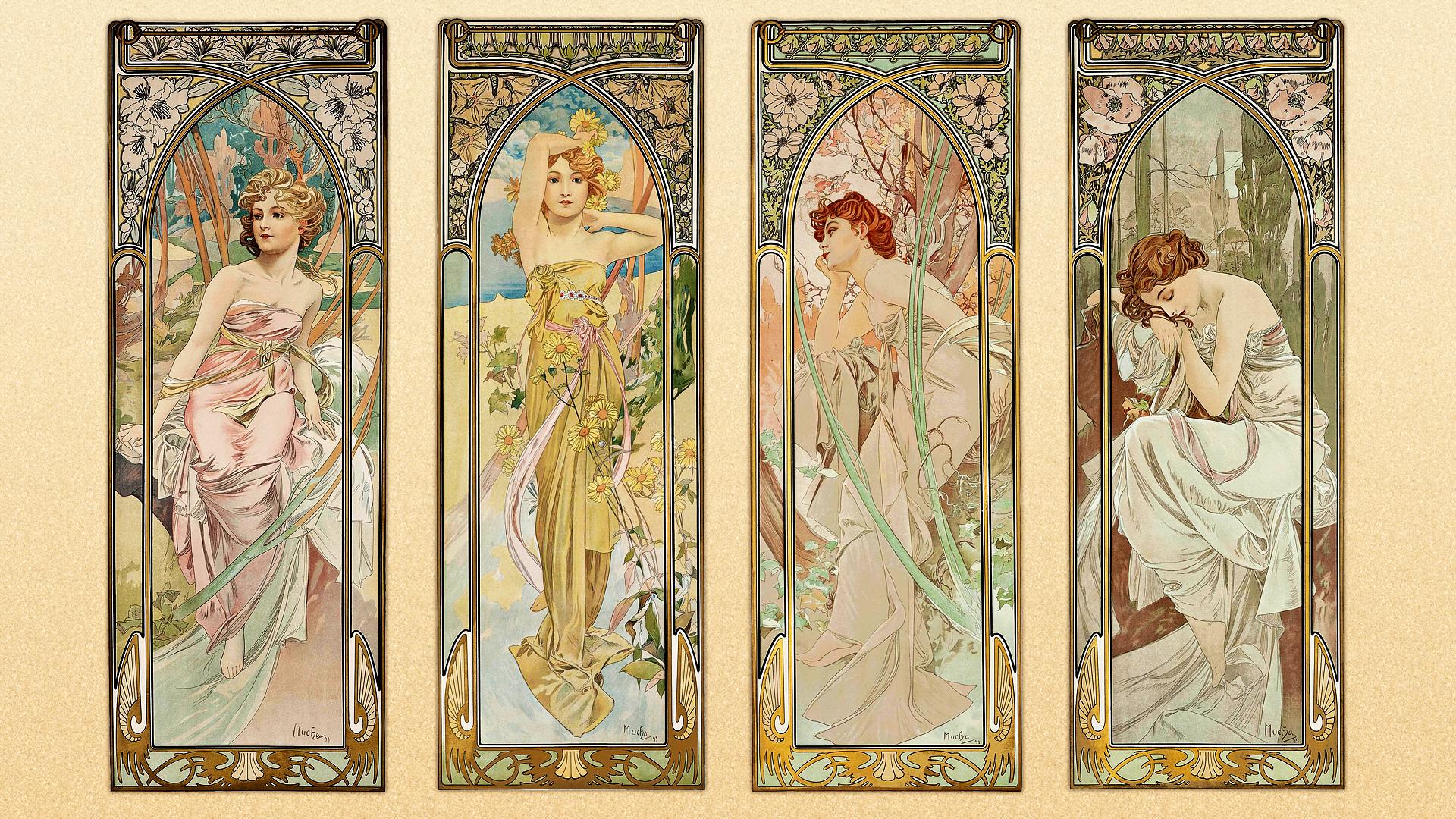 Alphonse Mucha Illustration Art Nouveau Artwork Drawing Women Spring Summer Fall Winter 1920x1080