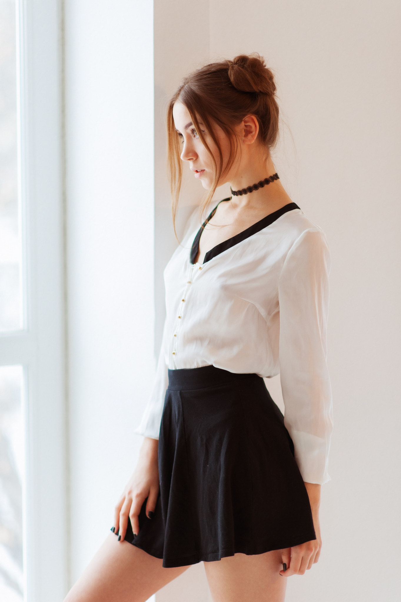 Maxim Maximov Women Ksenia Kokoreva Brunette Hairbun Looking Away Shirt Choker White Clothing Skirt  1363x2048