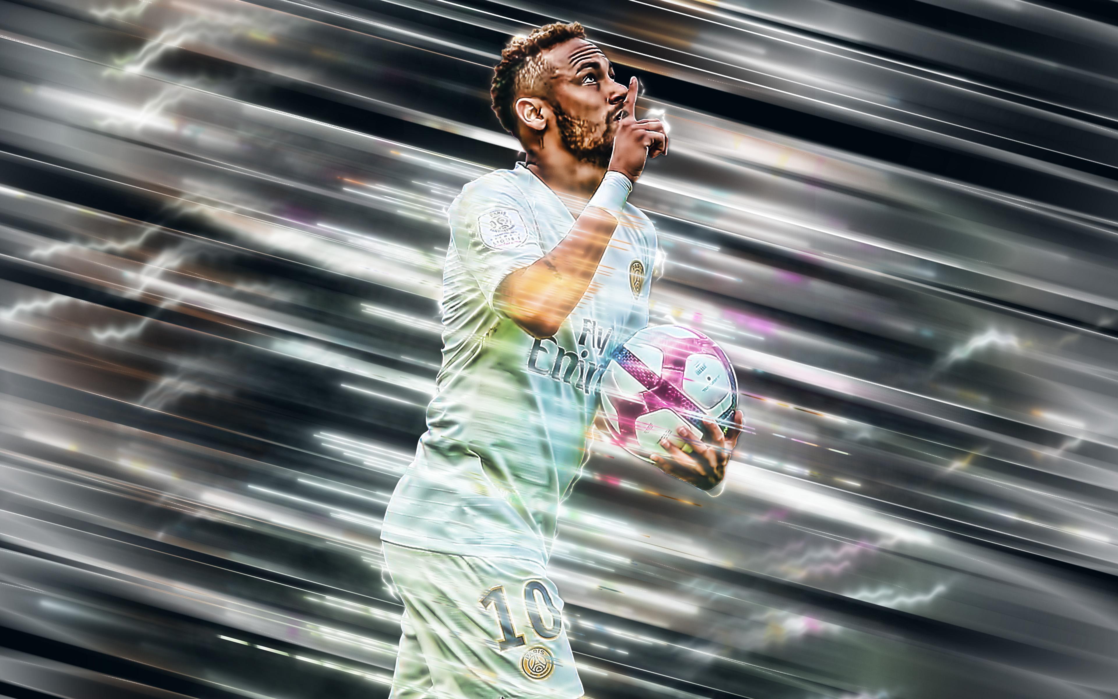 Brazilian Neymar Paris Saint Germain F C Soccer 3840x2400