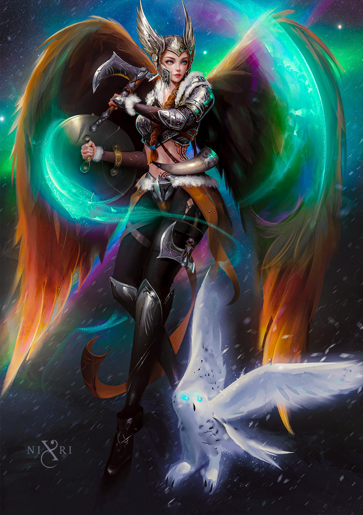 Nixri Drawing Women Helmet Warrior Valkyries Wings Axes Shield Weapon Owl Birds Fantasy Art Flying C 1270x1800