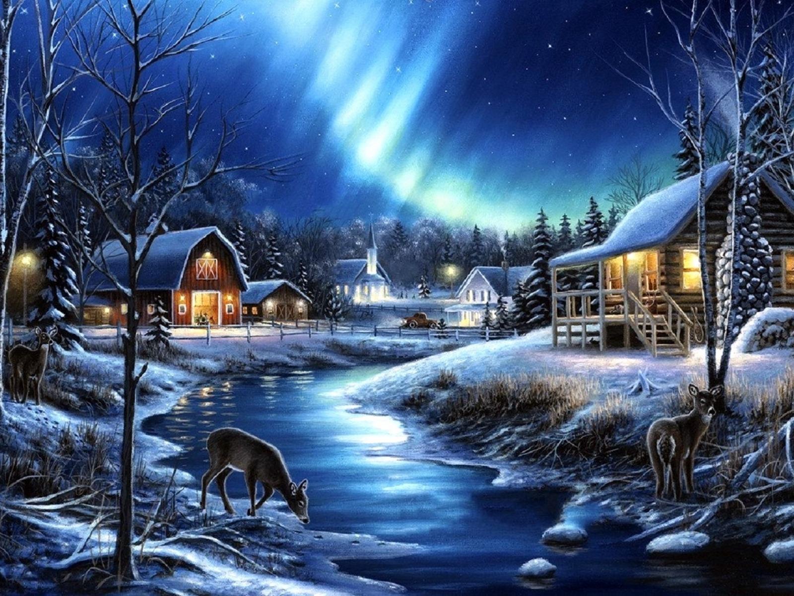 Barn Building Deer Winter 1600x1200