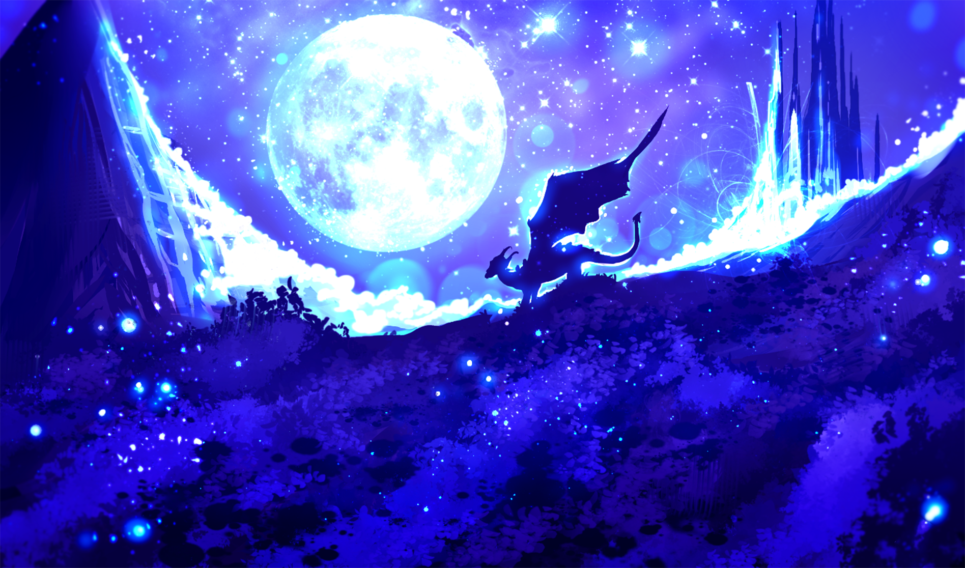 Blue Castle Dragon Fantasy Light Moon Night Sky Wings 1896x1116